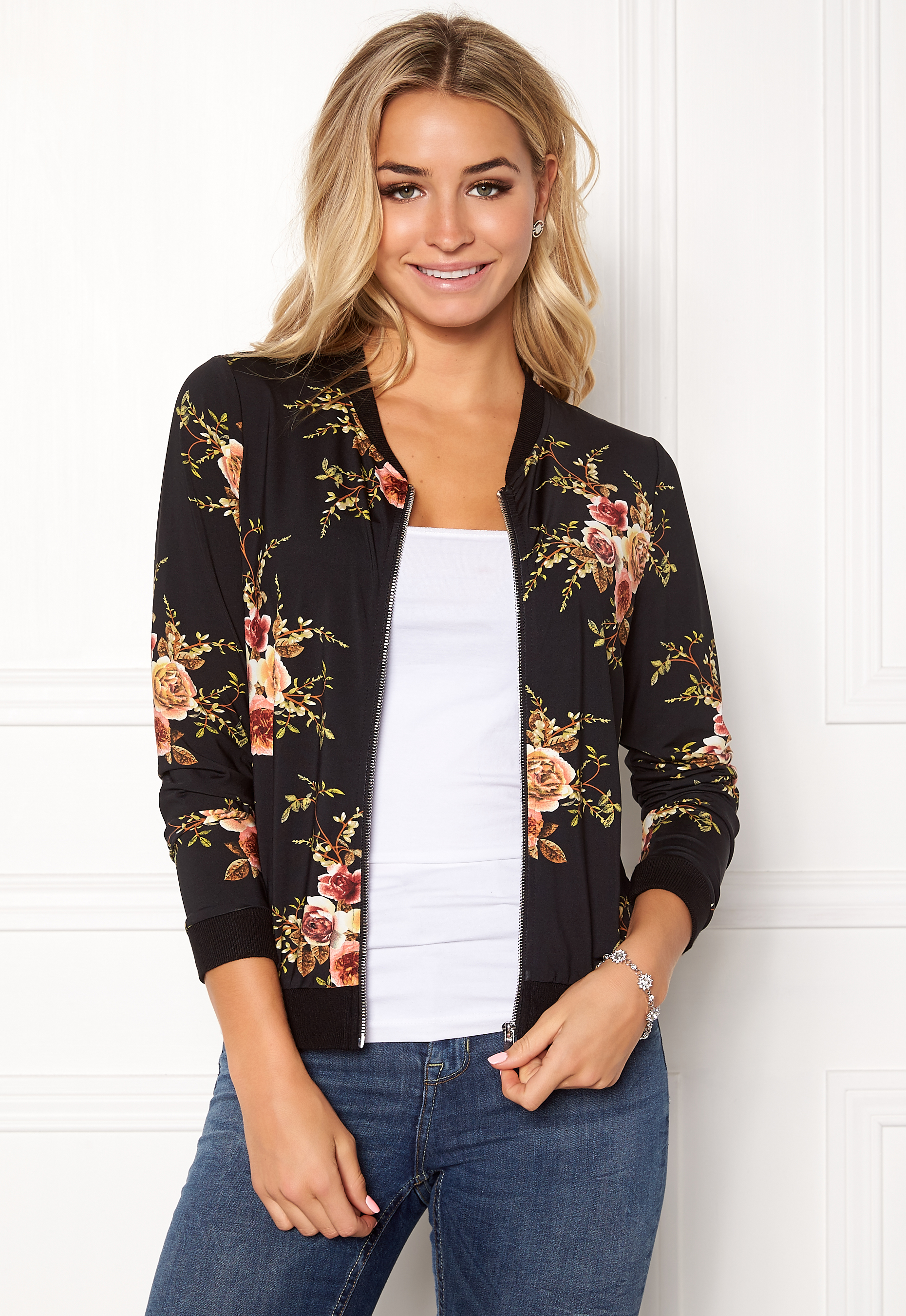 d280f094 Happy Holly Hanna bomber jacket Black / Patterned - Bubbleroom