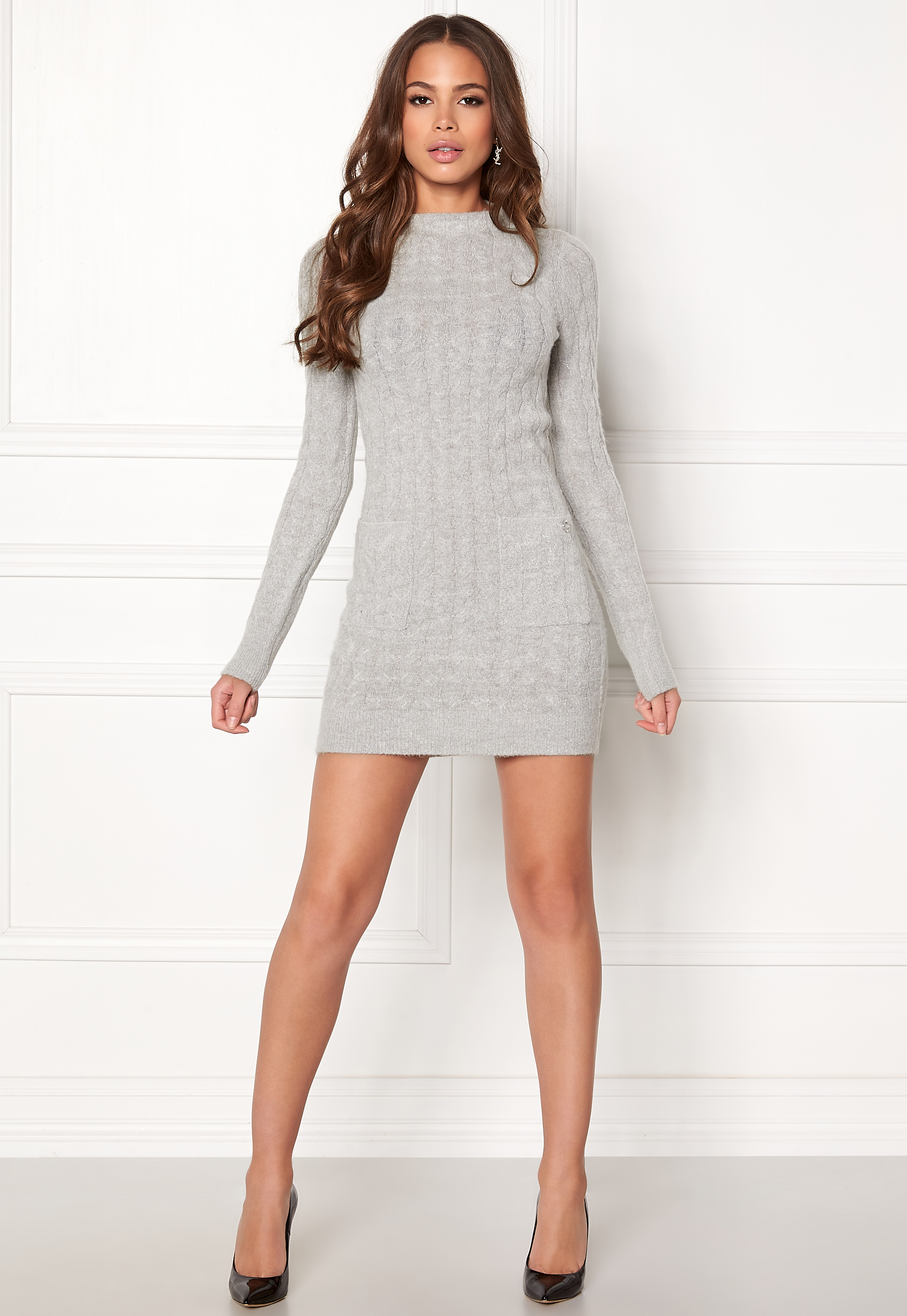 abff4db12a3828 Happy Holly Kira cable sweater dress Grey melange - Bubbleroom