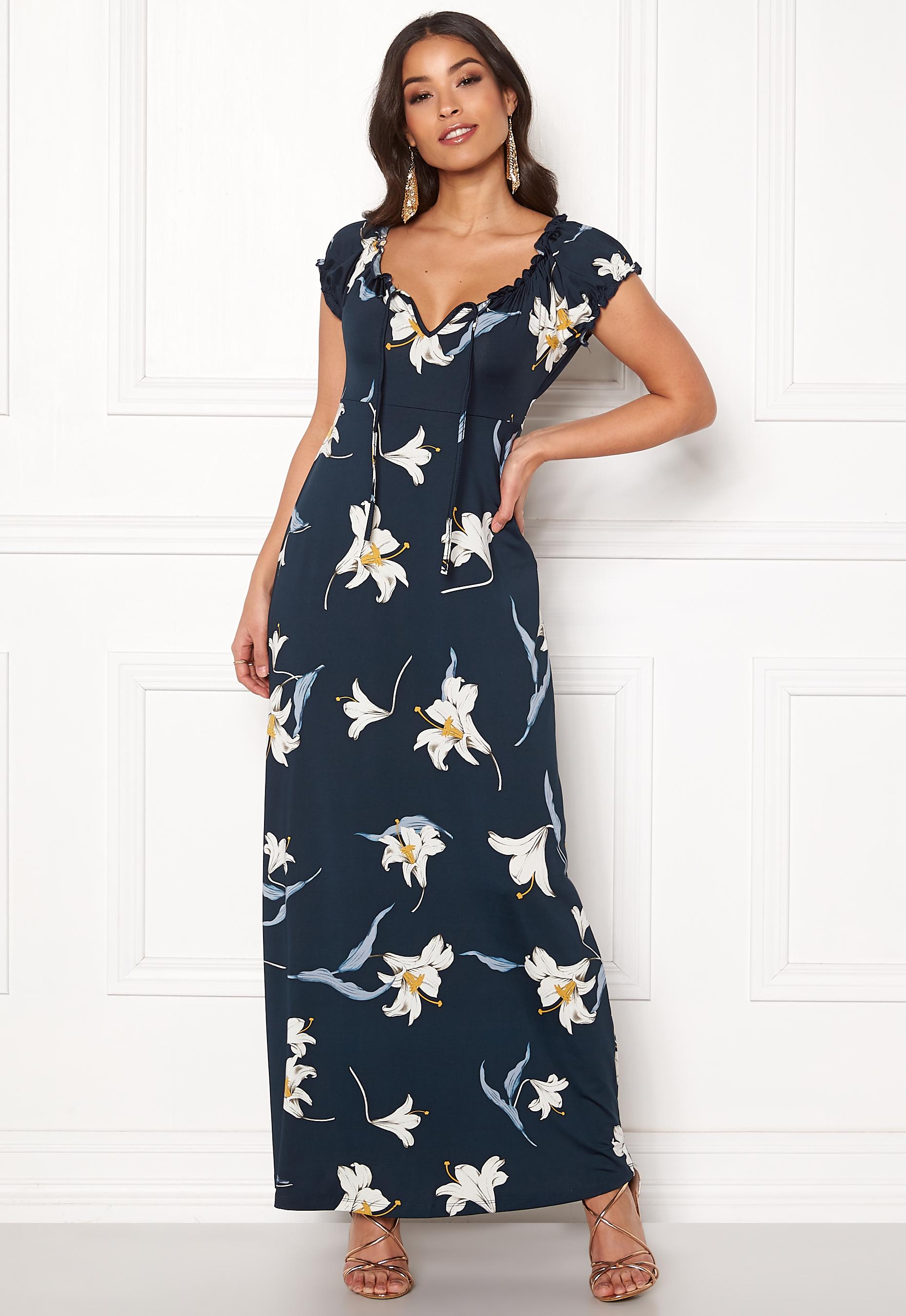 Happy Holly Tessie maxi dress Dark blue   Patterned - Bubbleroom 00a7f683b2
