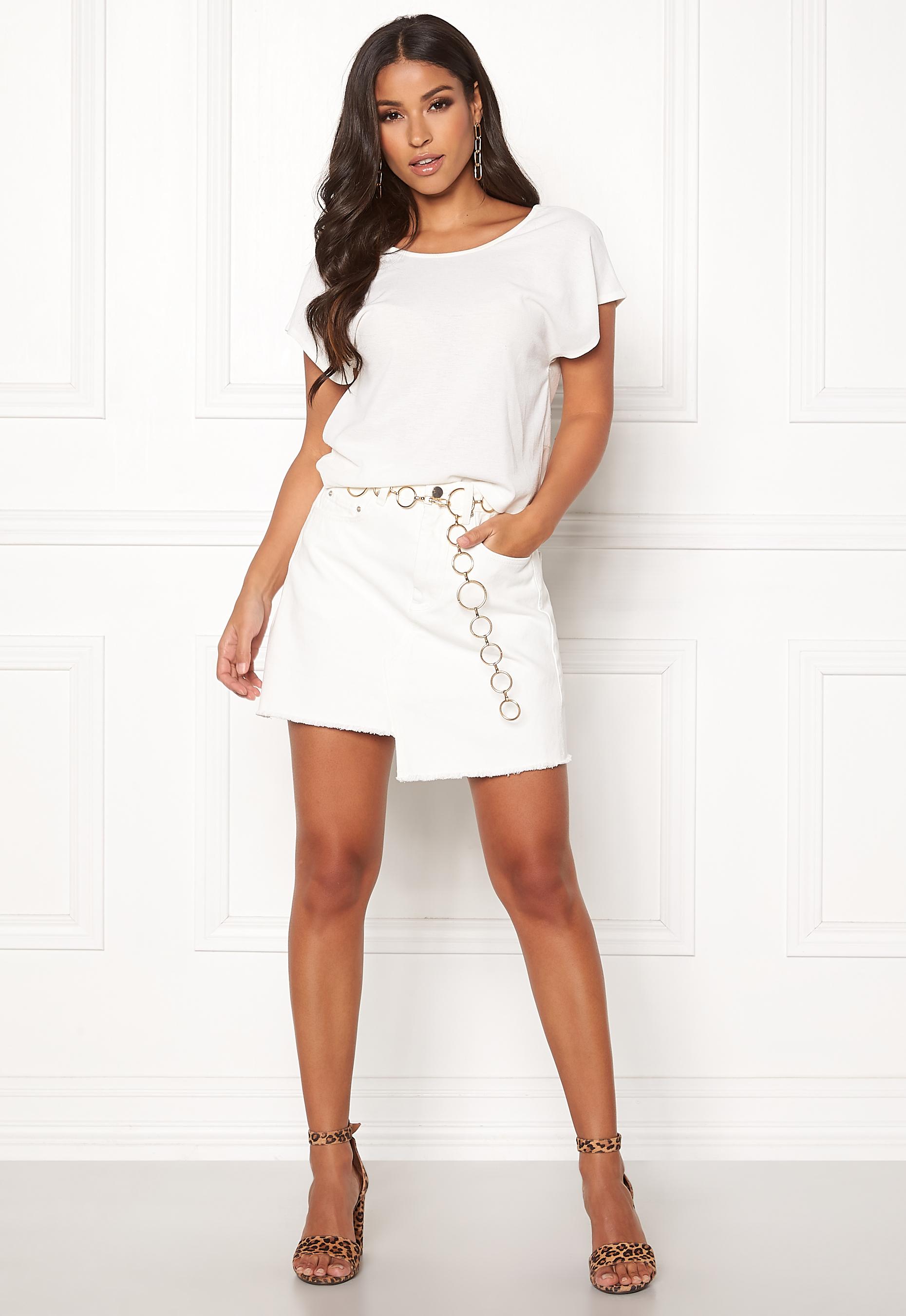 cb7ea315c861 Ivyrevel Raw Edge Denim Skirt White - Bubbleroom
