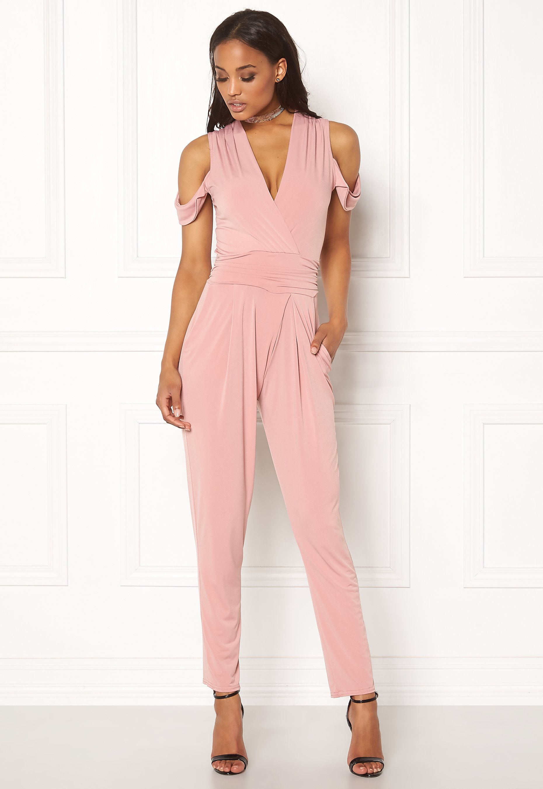cfce291b903a John Zack Cold Shoulder Jumpsuit Dusty Pink - Bubbleroom