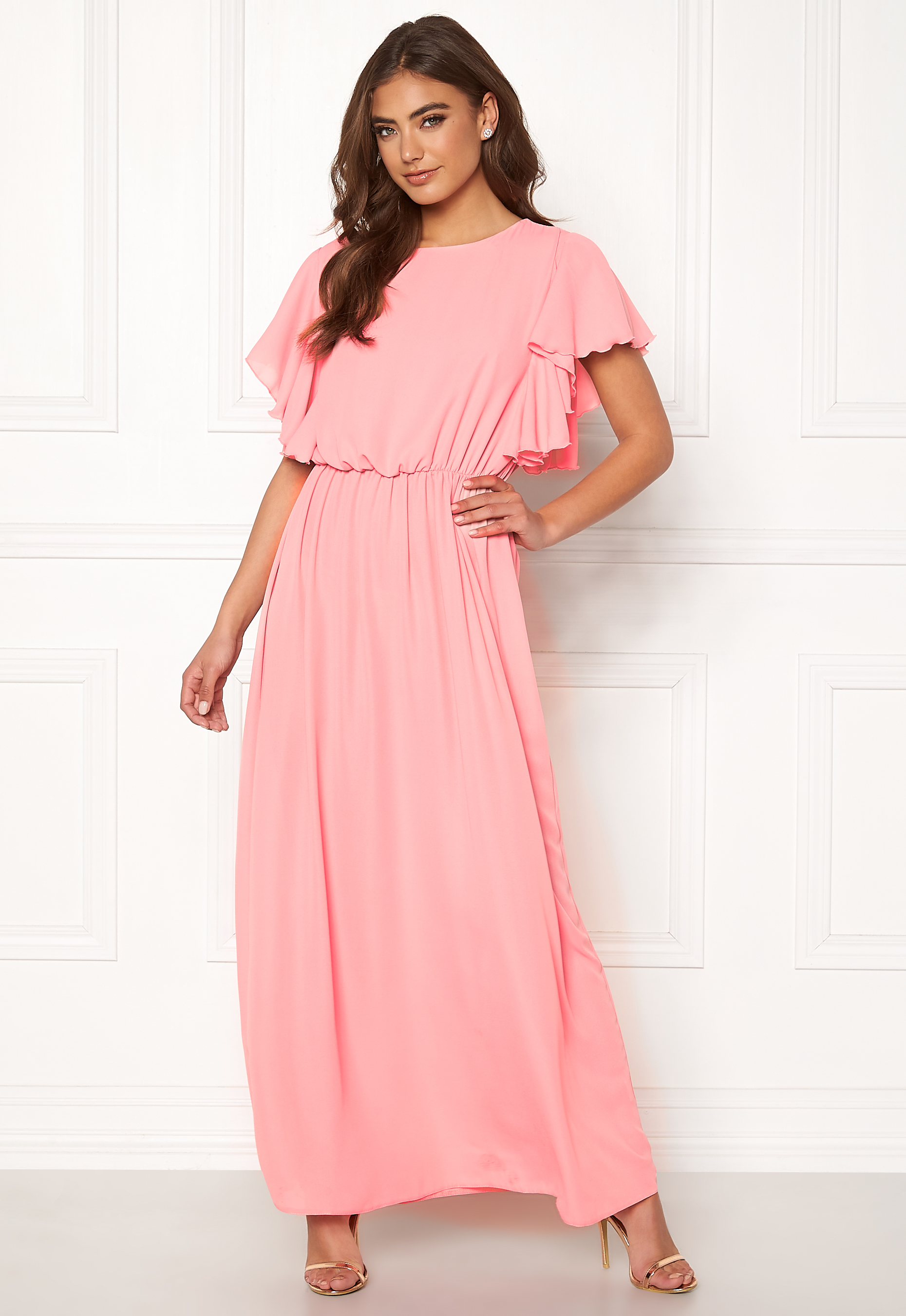 64915d954cf John Zack Frill Sleeve Maxi Dress Rose Pink - Bubbleroom