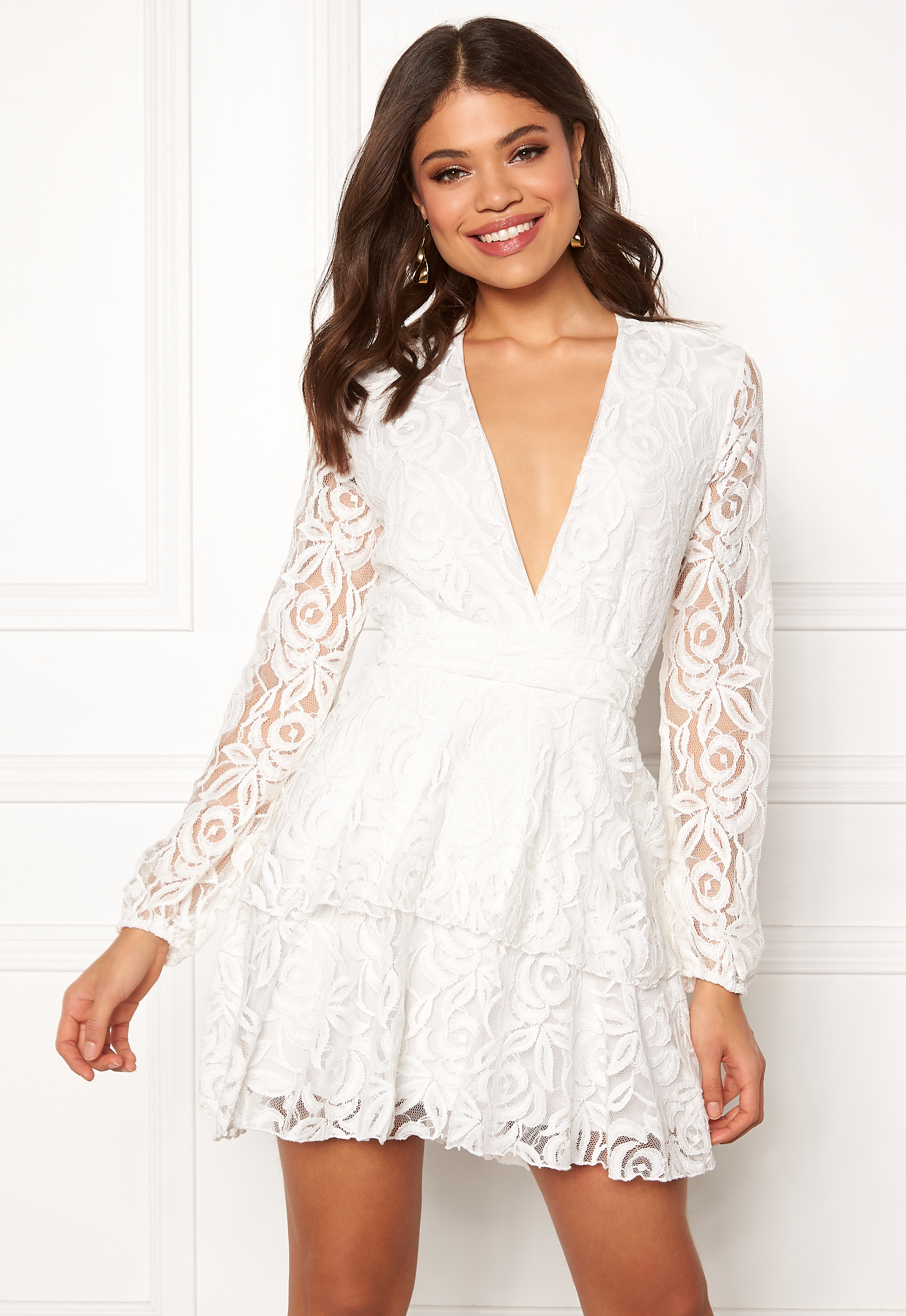 89efdfba37 John Zack Lace Deep V Skater Dress White - Bubbleroom