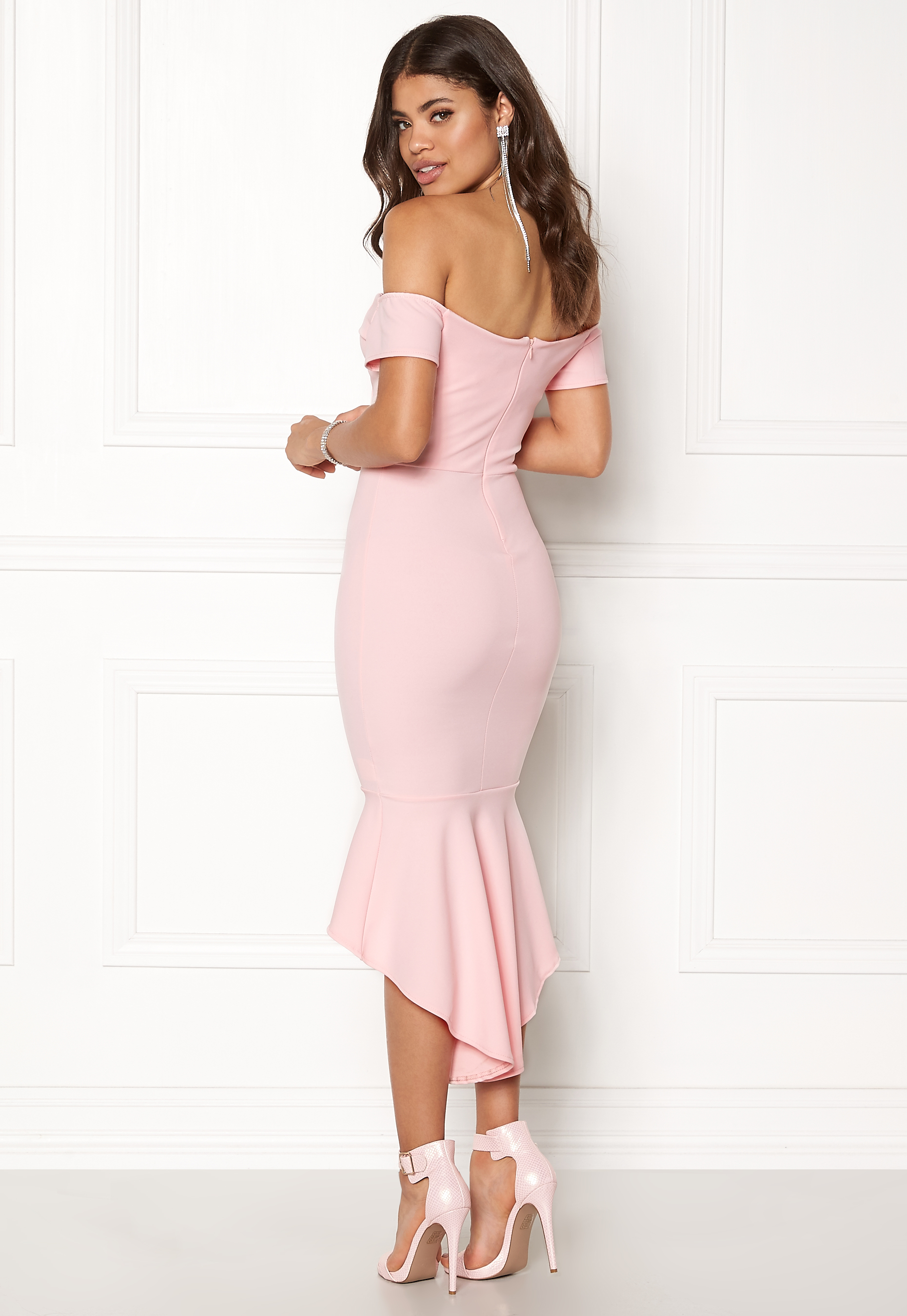 7551d6b6b John Zack Off Shoulder High Dress Pink - Bubbleroom