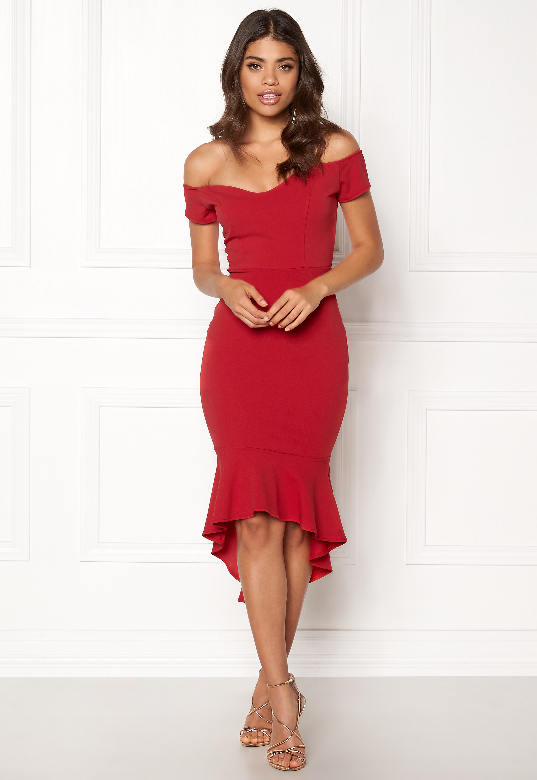 3c88d7936 John Zack Off Shoulder High Dress Red - Bubbleroom