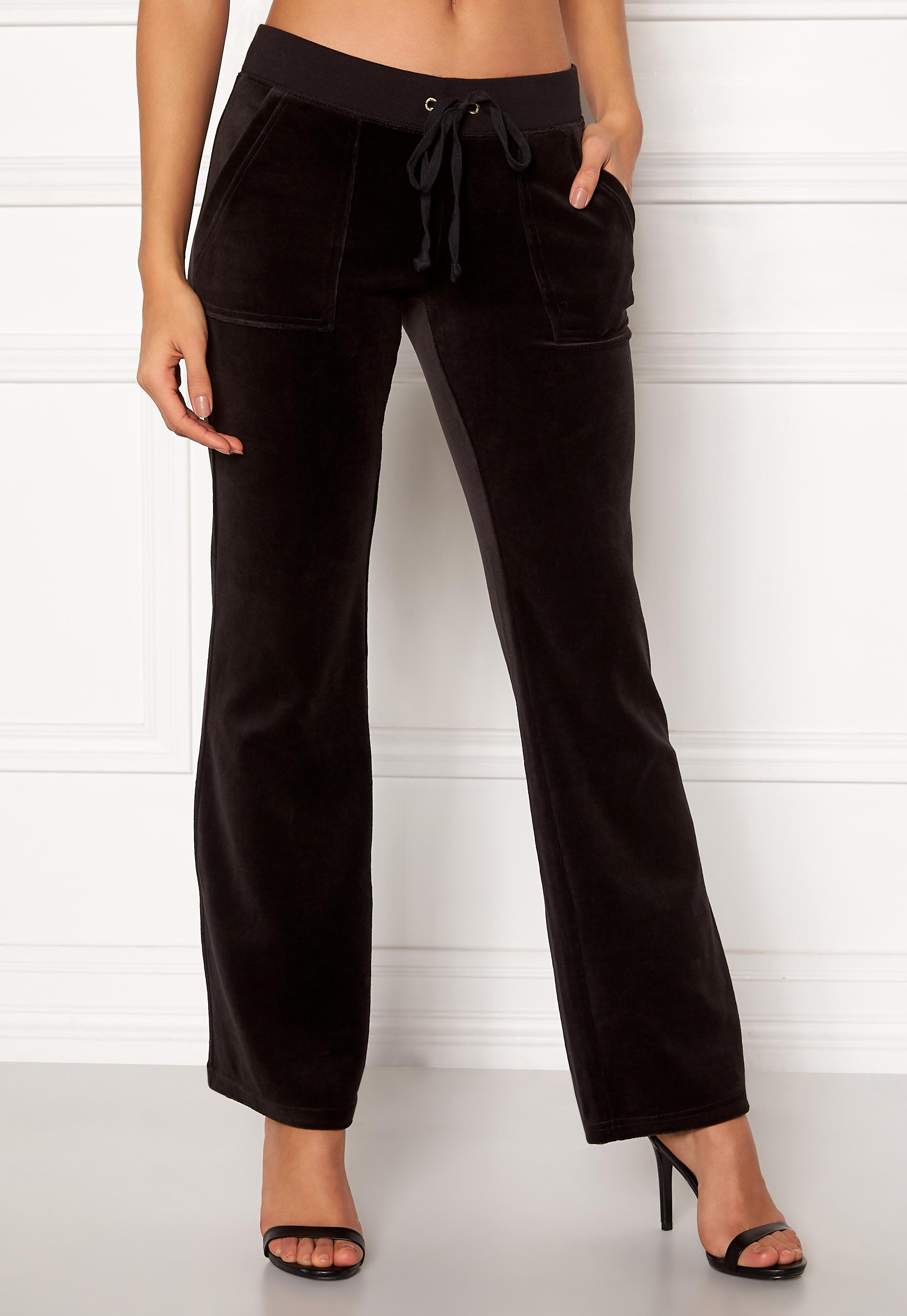 5642712e Juicy Couture Velour Del Rey Pant Pitch Black - Bubbleroom