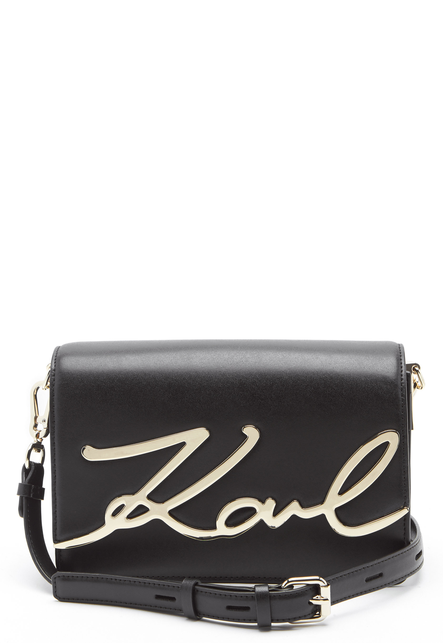 0bef3f99edb4 Karl Lagerfeld Signature Shoulder Bag Black Gold - Bubbleroom