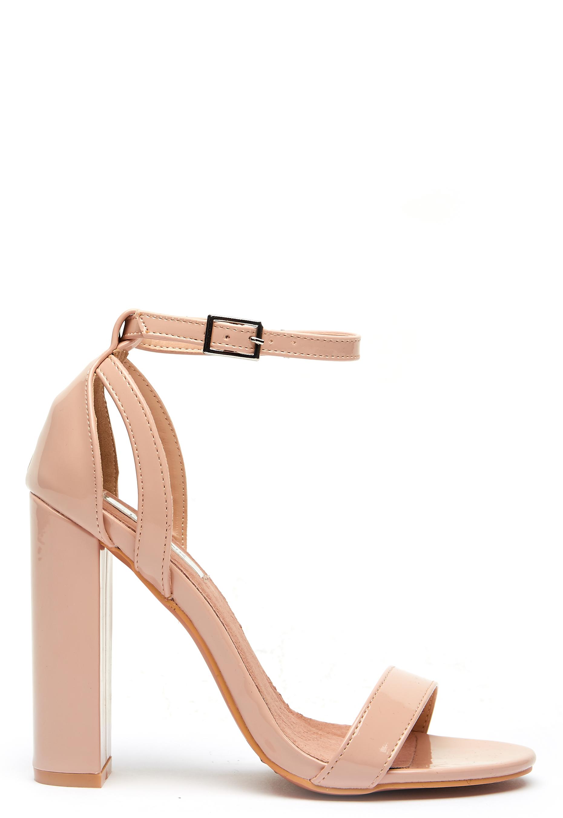 Lost Ink BLAISE BLOCK HEEL - High heeled sandals - nude EPn5pnCCEF