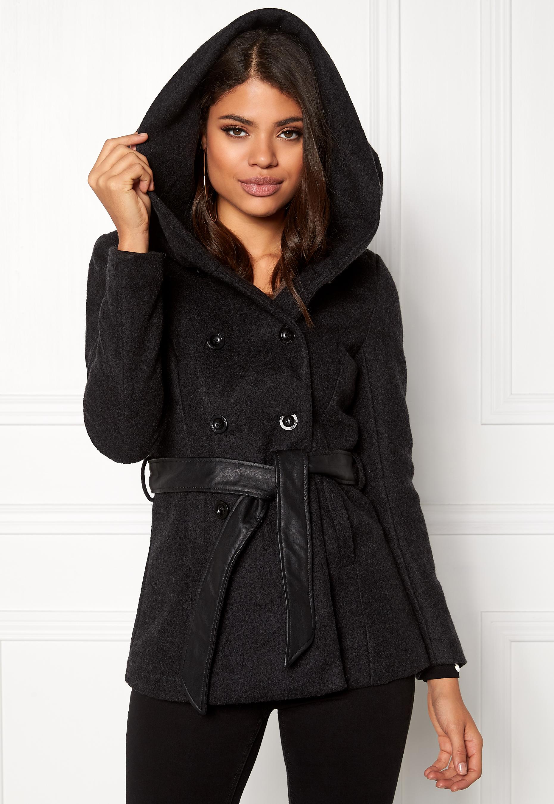 Mantel von Only, Gr. S, Schwarz, Lisa Wool Coat PU Belt RP1
