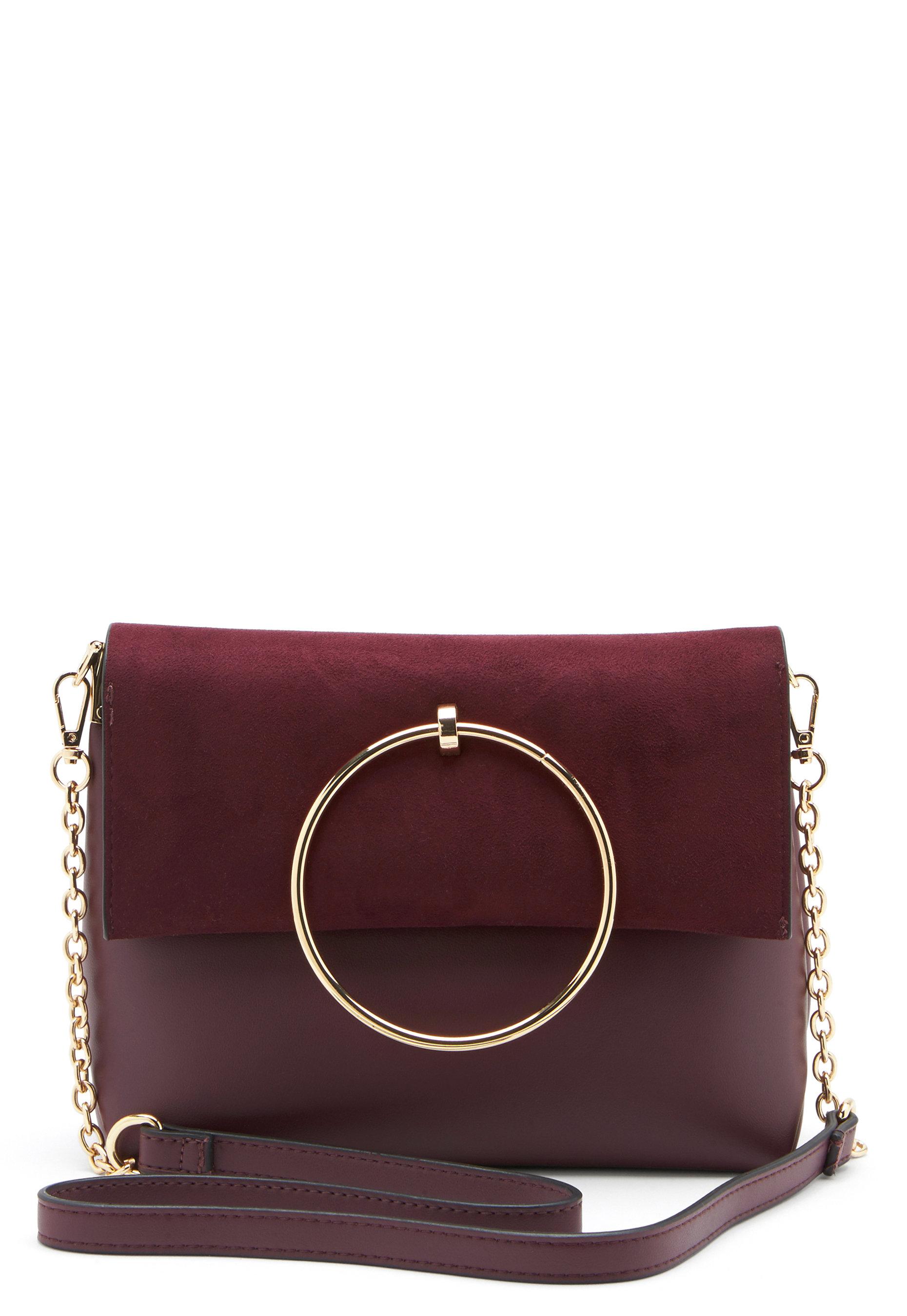 49a106a10c New Look Matilda Metal Handle Bag Dark Burgundy - Bubbleroom
