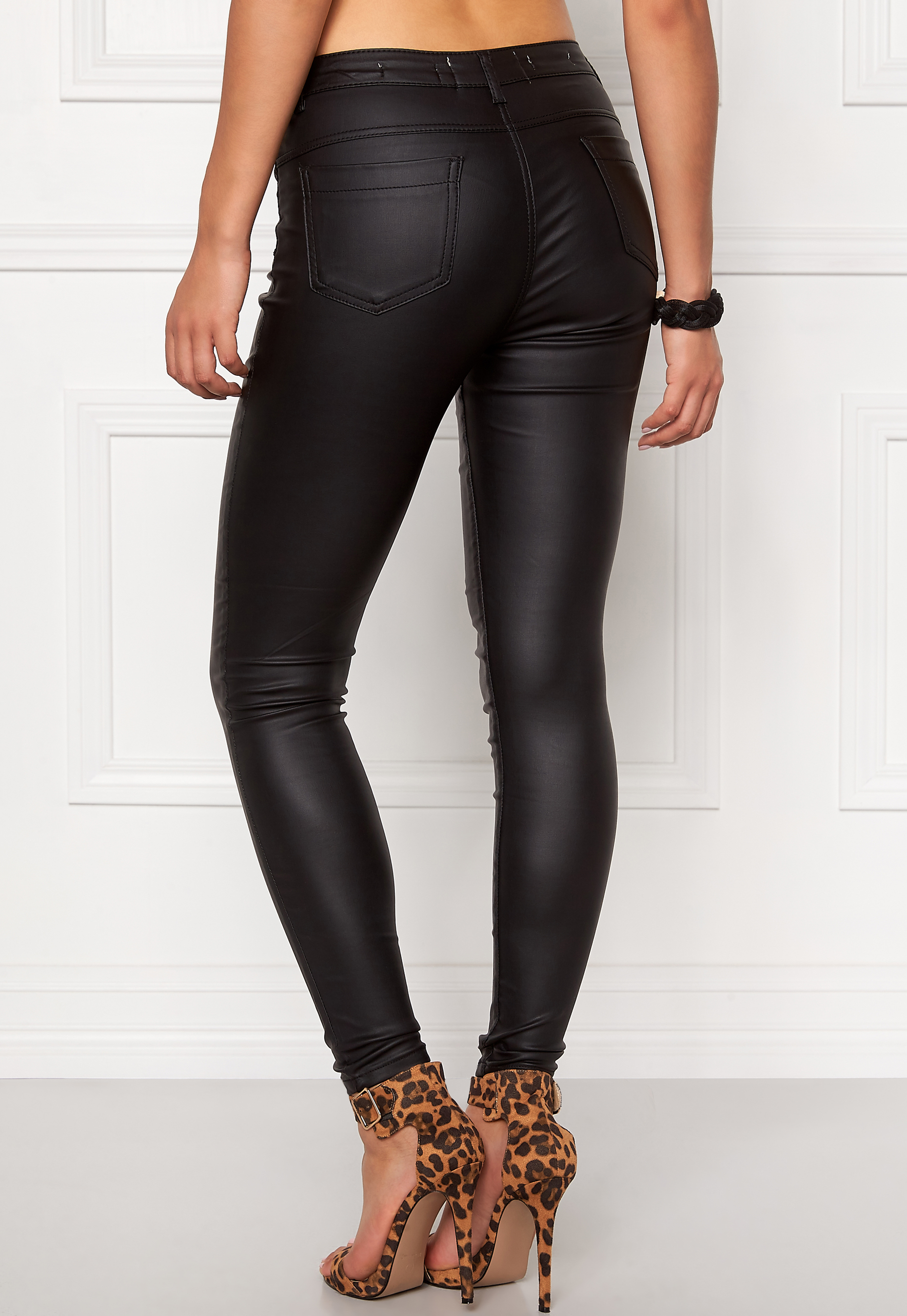 PARISIAN FASHION HIGH WAISTED Skinny Jeans Coated With 4 Zip Pockets