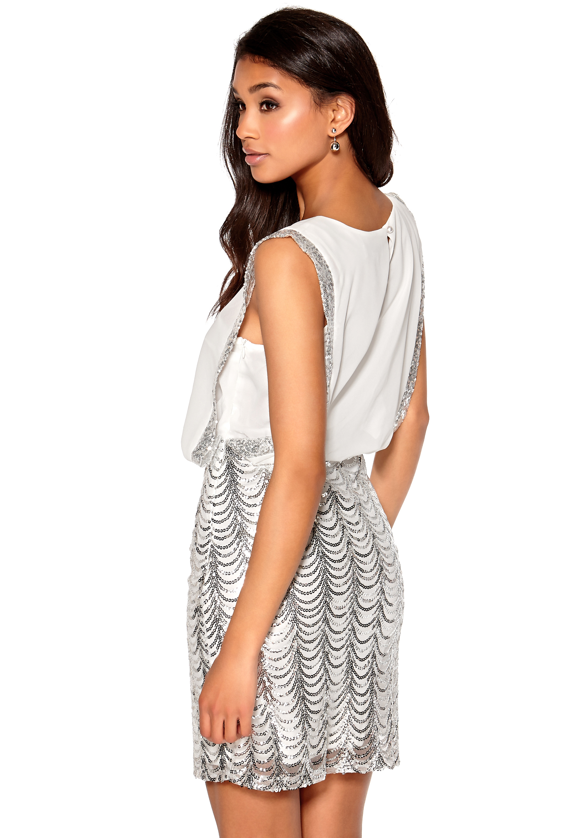Model Behaviour Erika Dress White   Silver - Bubbleroom bd8268b9e4b68