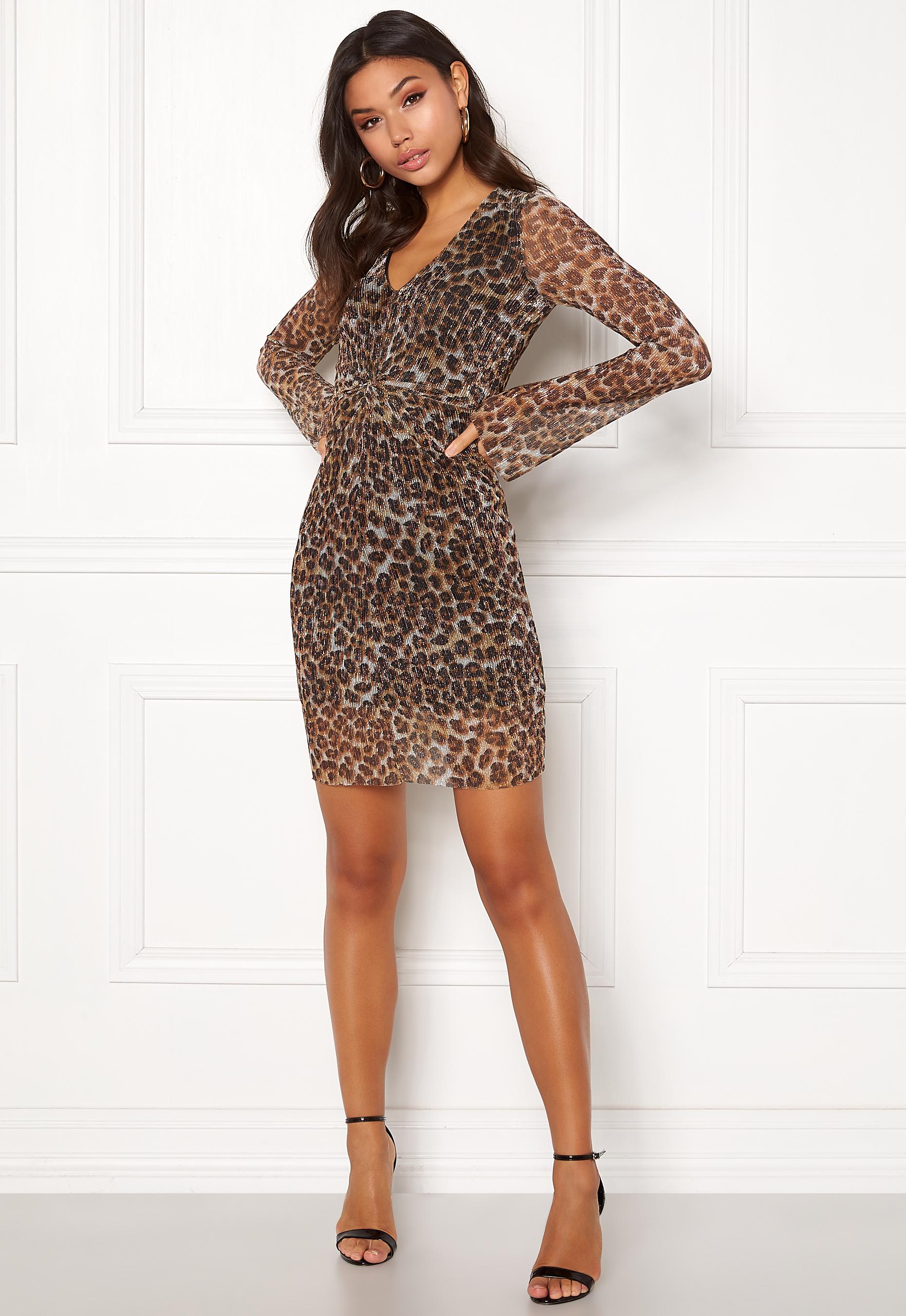 New Look Animal Plisse Twist Dress Brown Pattern - Bubbleroom 7272d6207
