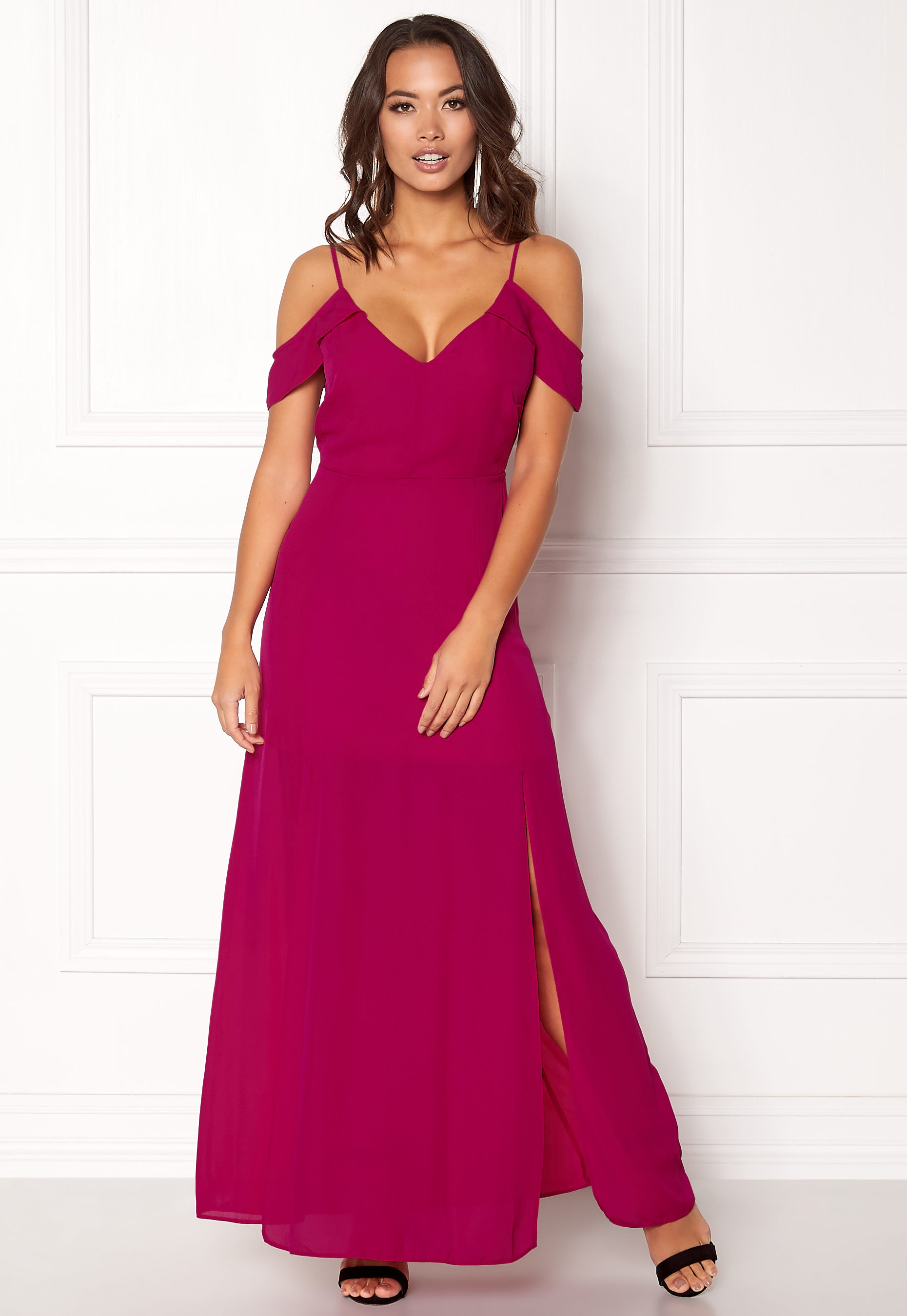 New Look Off Shoulder Maxi Dress Bright Pink Bubbleroom