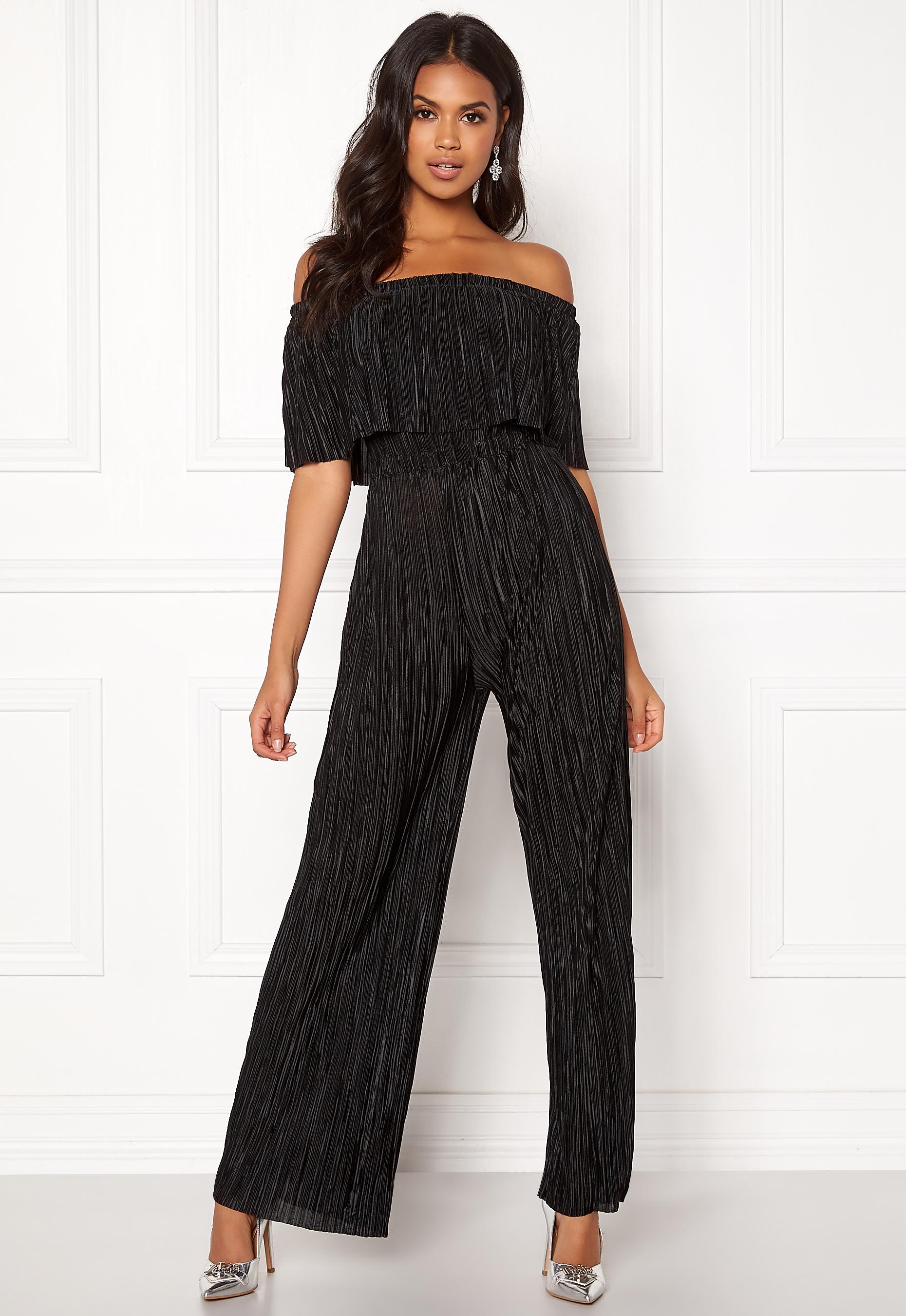 687933cc857 New Look Plisse Bardot Jumpsuit Black - Bubbleroom
