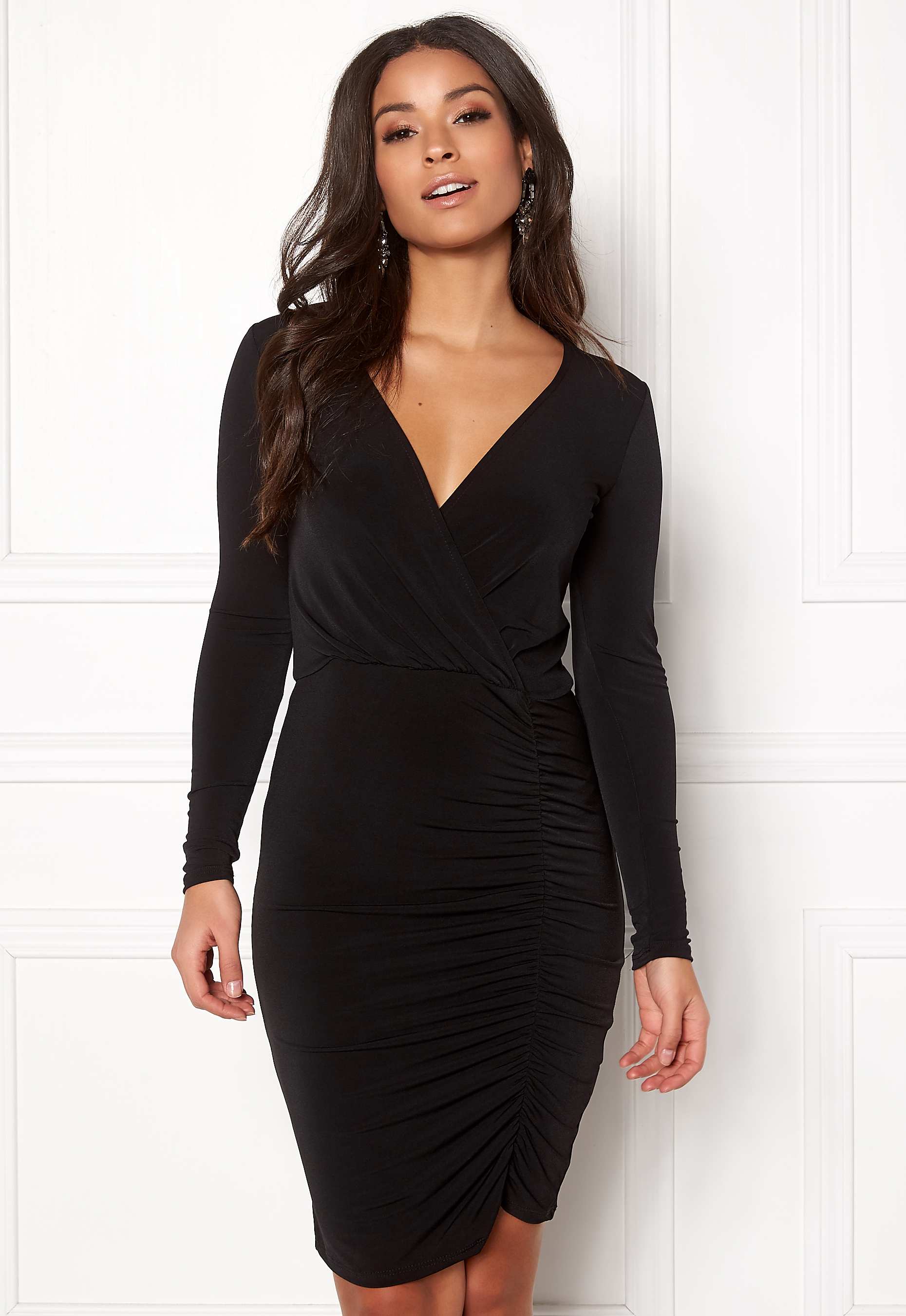 b80fe1f8951 New Look Slinky Wrap Dress Black - Bubbleroom