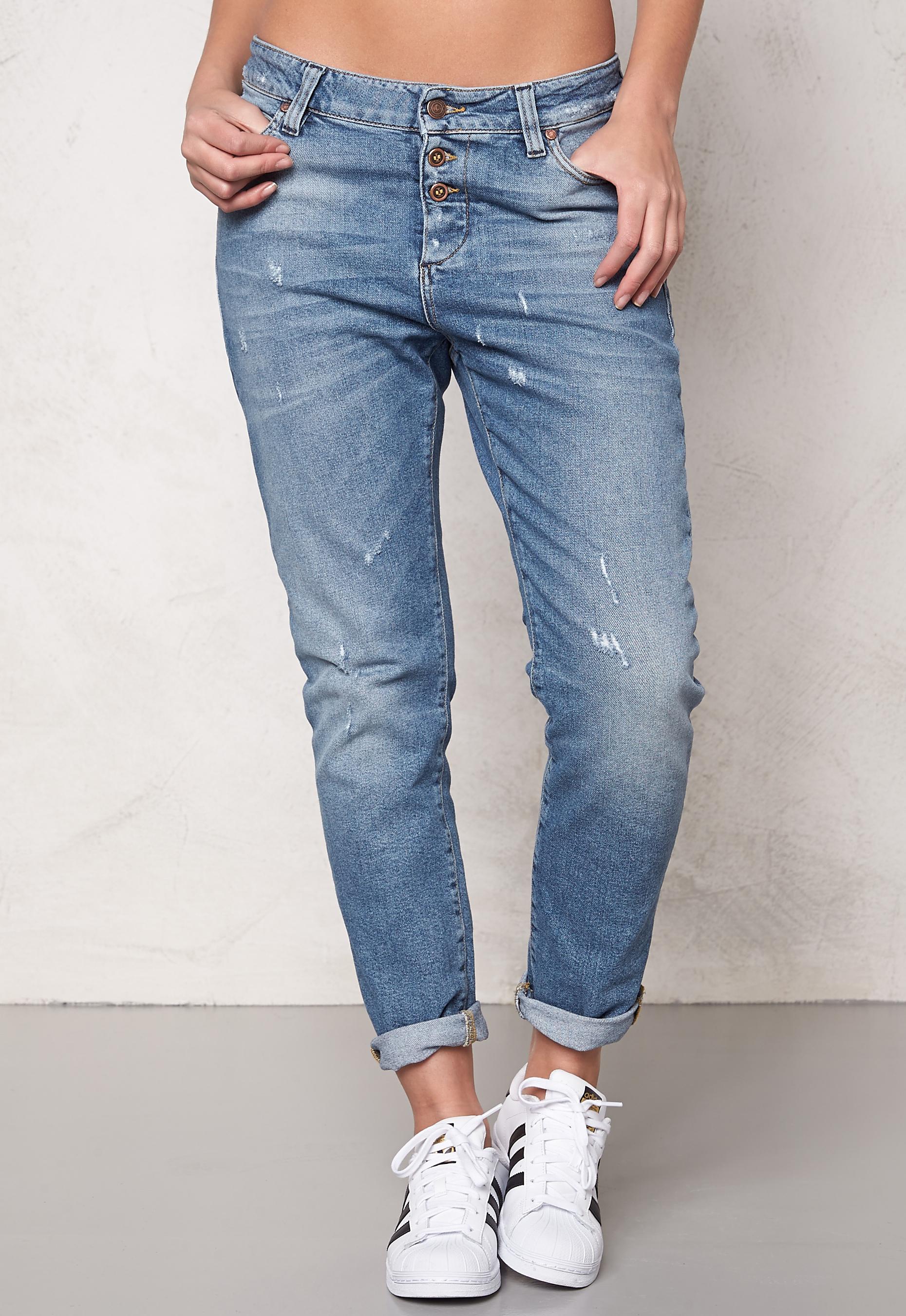 e67c4380 OBJECT Antifit Ally Zip Jeans Medium Blue Denim - Bubbleroom