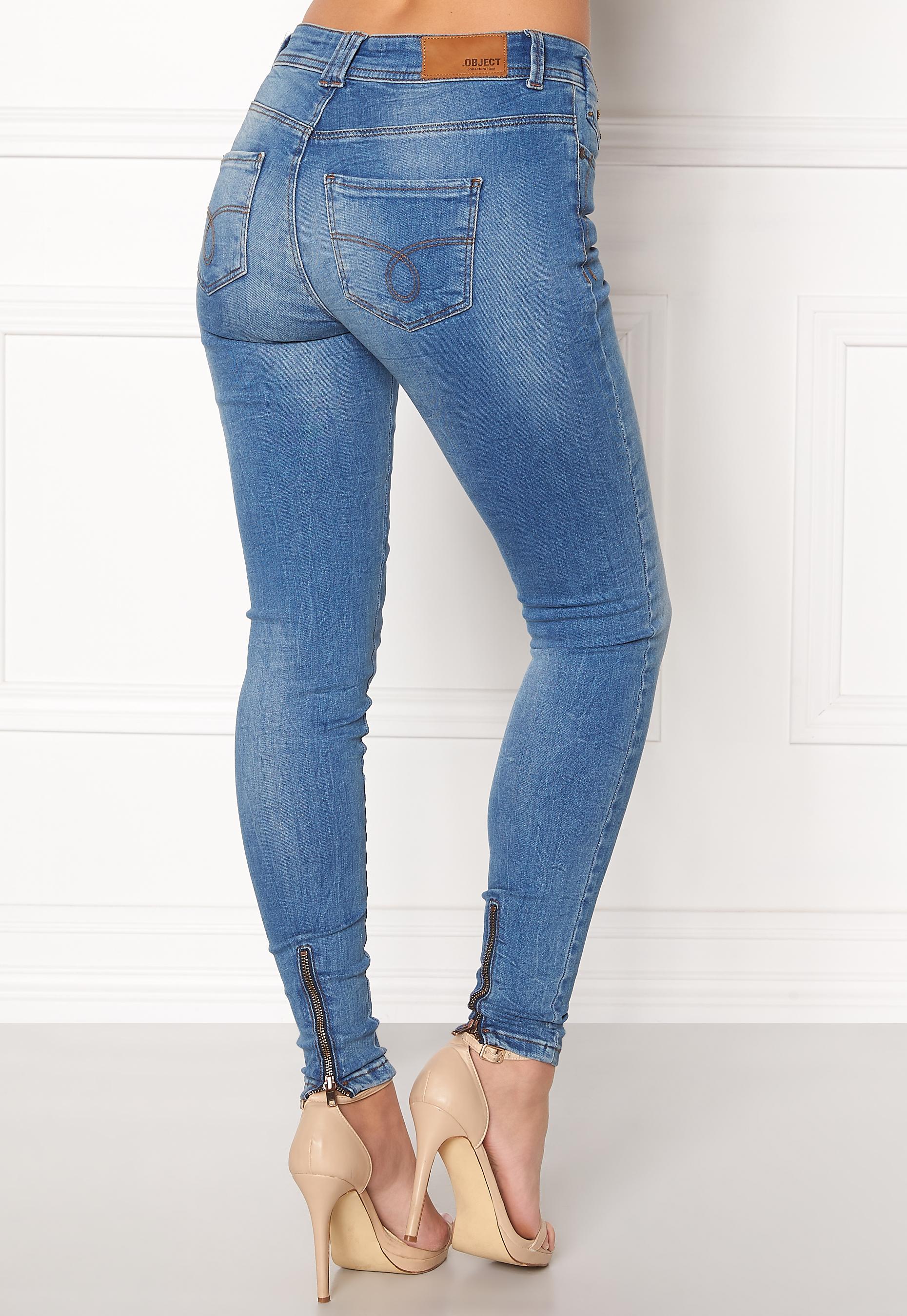 5d06b28f15 OBJECT Sarah Skinny Jeans Medium Blue Denim - Bubbleroom