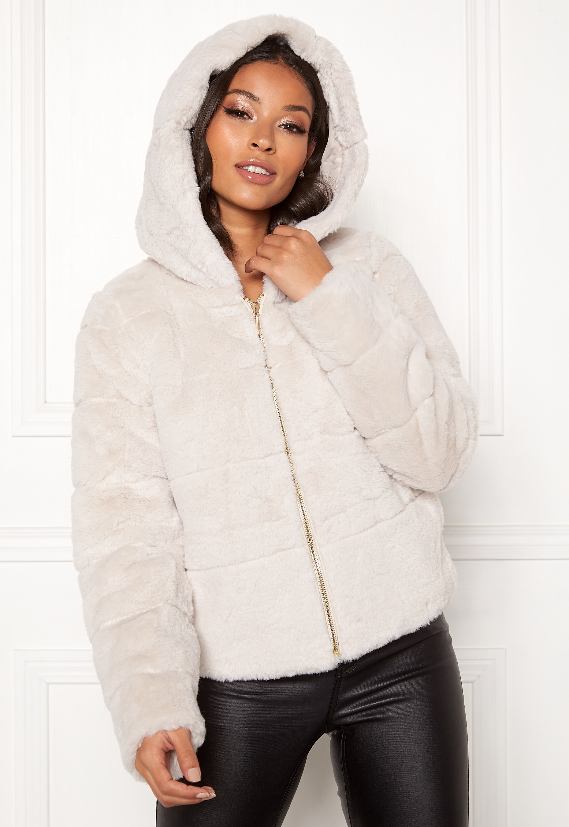 purchase cheap new lifestyle discount shop ONLY Chris Fur Hooded Jacket Pumice Stone - Bubbleroom