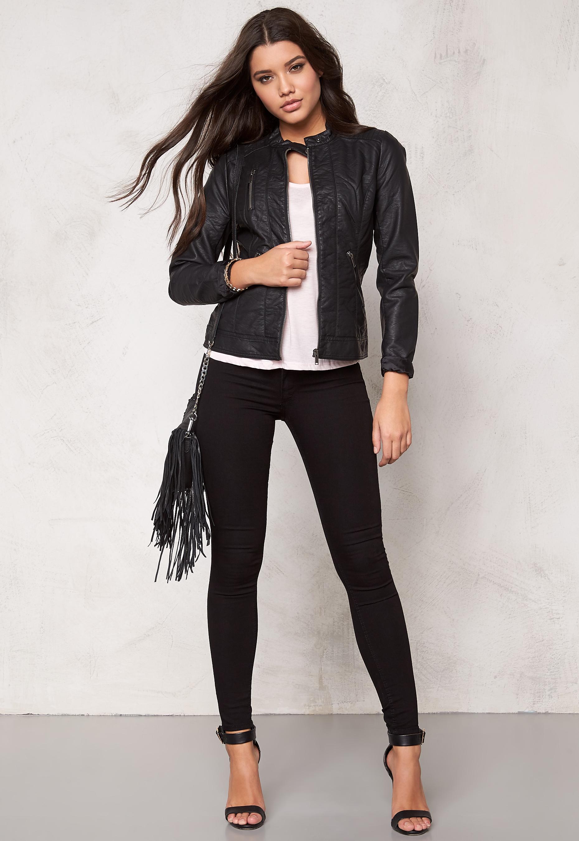 outlet store temperament shoes new list ONLY Ferry Pu Biker Jacket Black - Bubbleroom