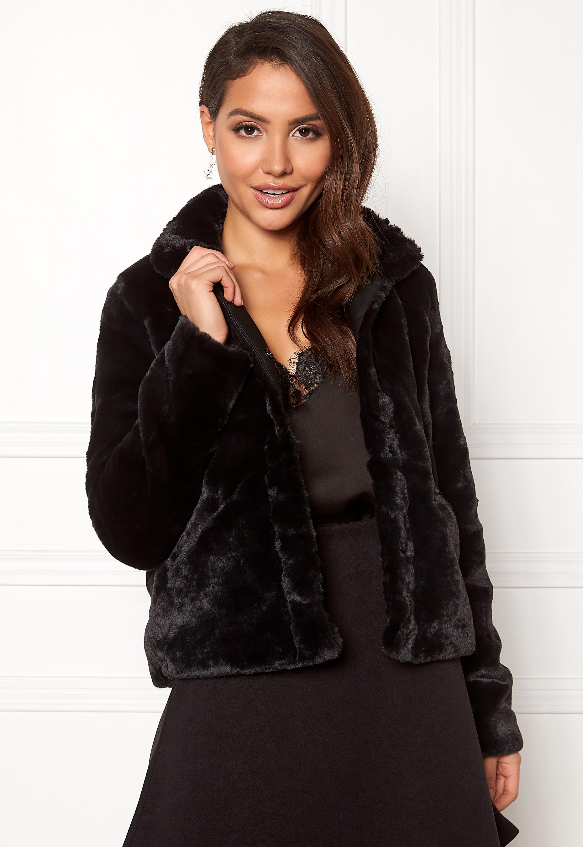 28555c11 ONLY Vida Faux Fur Jacket Black - Bubbleroom