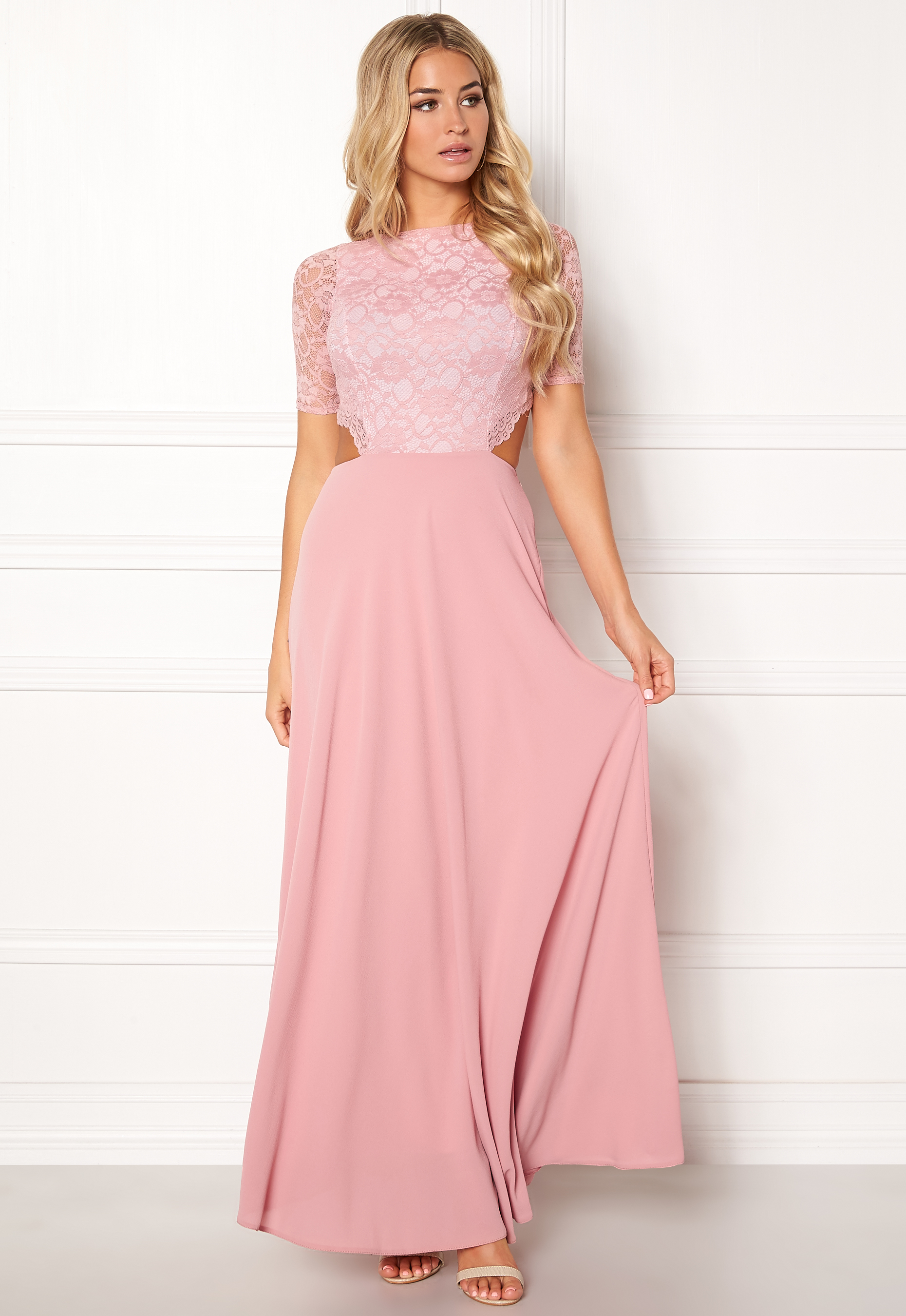 John Zack Long Maxi Lace Evening Dress