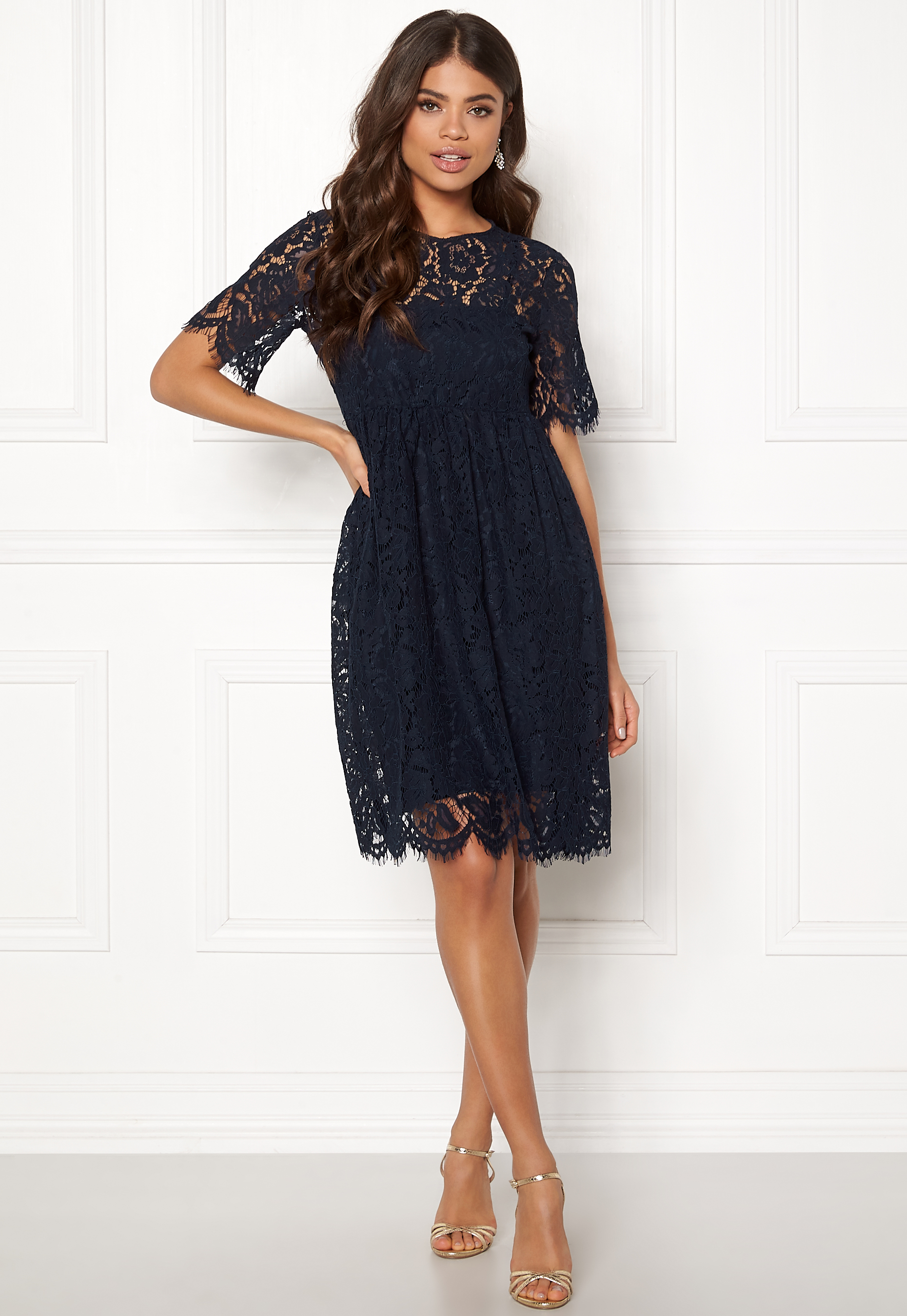 8e179c38c956 Pieces Gaia 2 4 Midi Lace Dress Navy Blazer - Bubbleroom