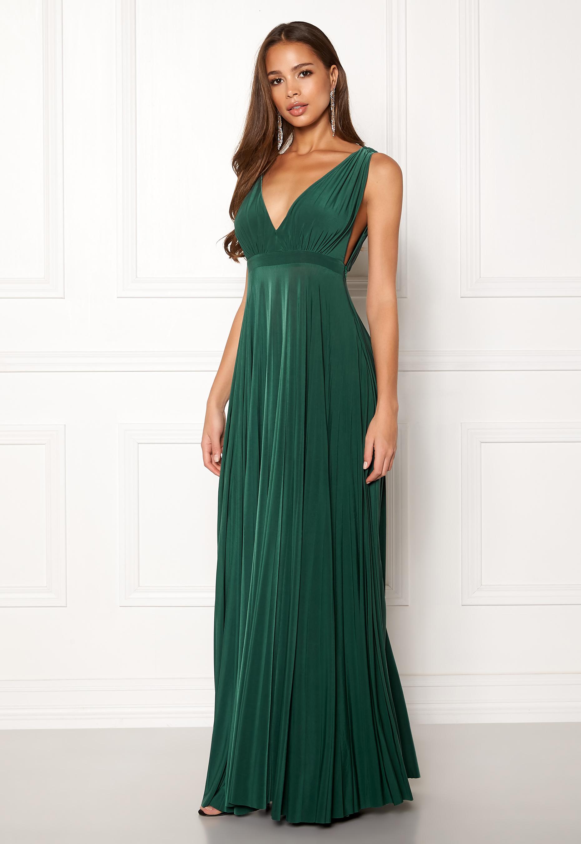Goddiva Pleated Oscar Maxi Dress Green - Bubbleroom 4e0ba3cb89574