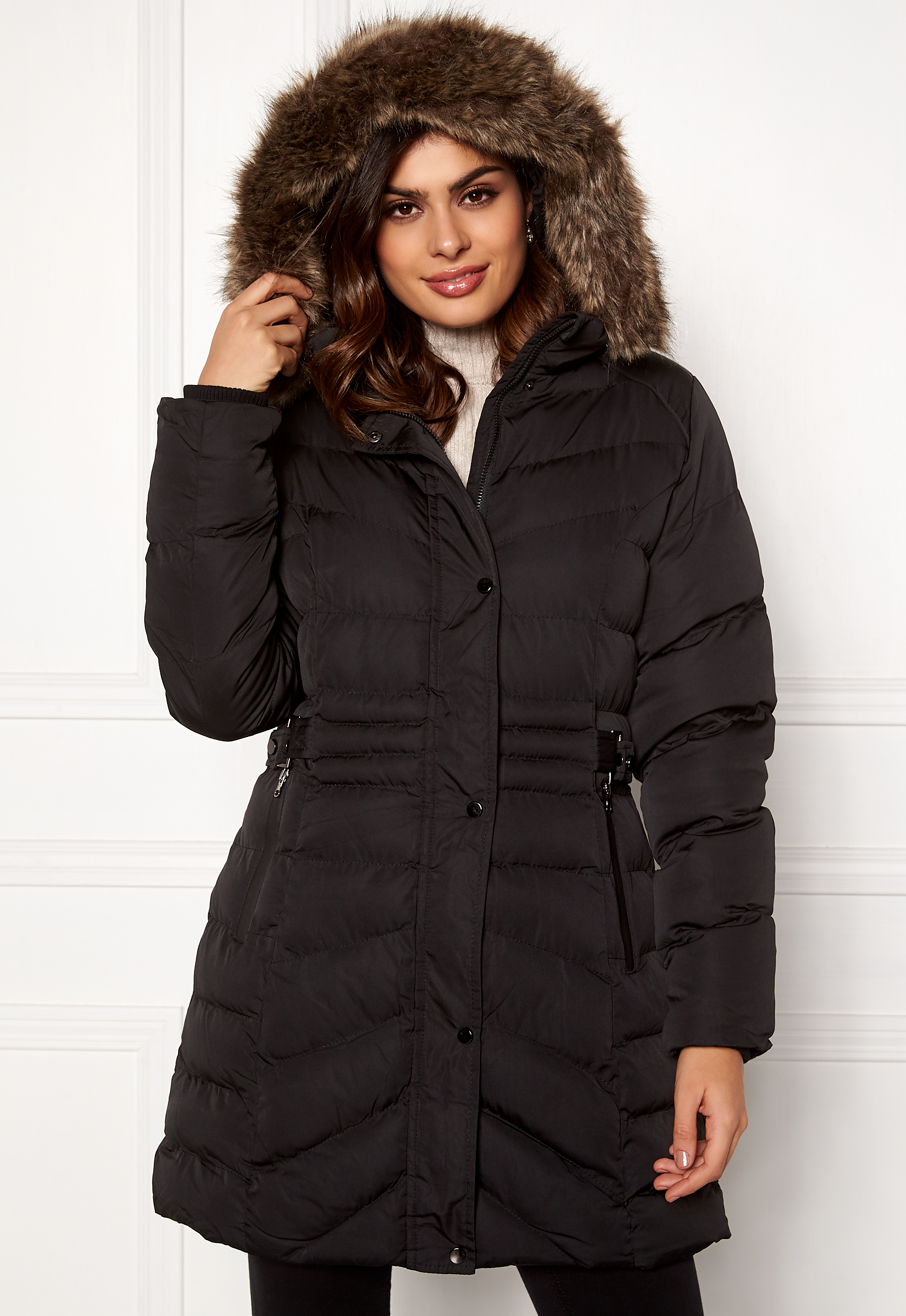 1f3f27c08 QED London Quilted Long Puffer Coat Black - Bubbleroom