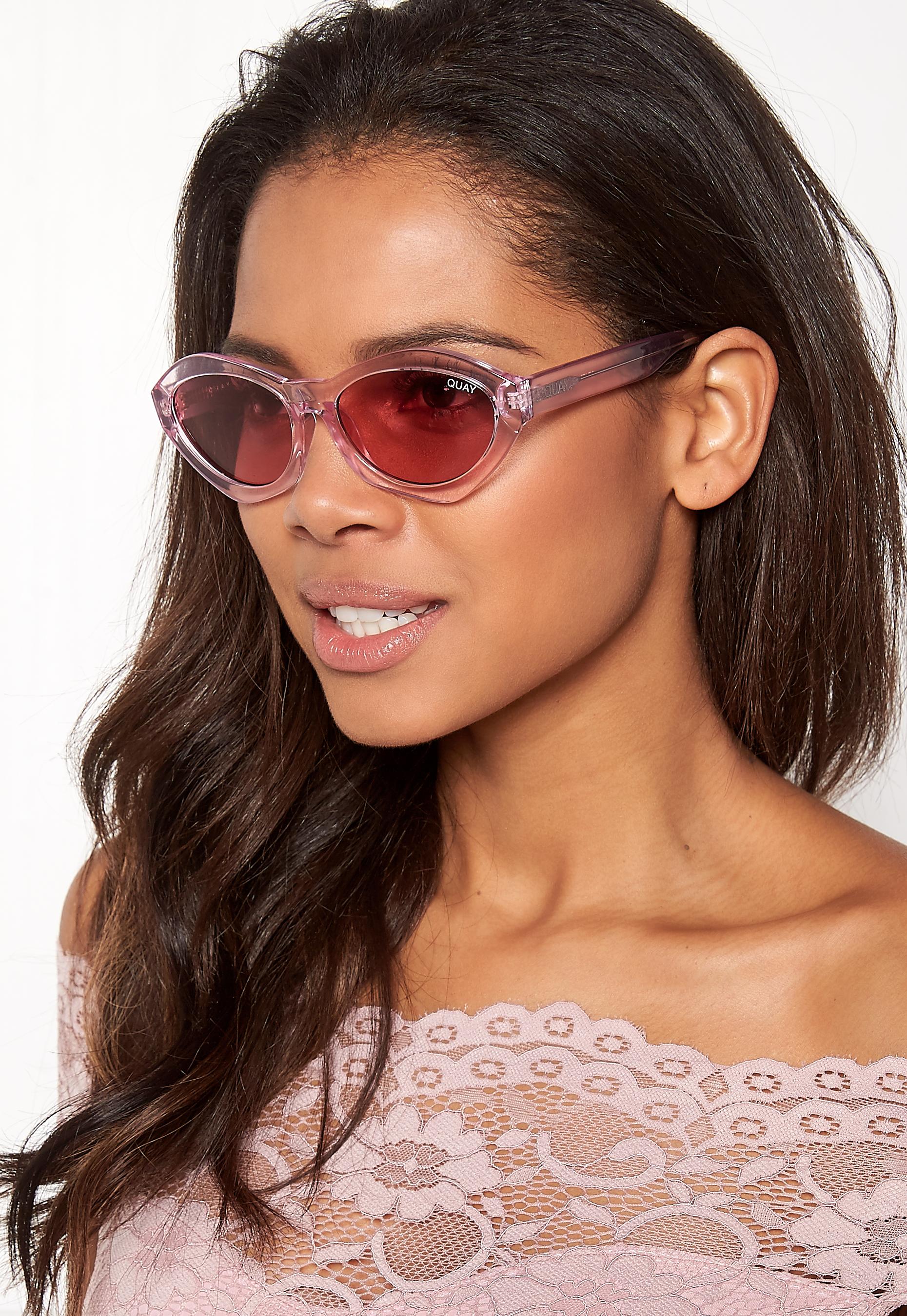109997f1f3 Quay Australia As If Sunglasses Pink   Pink Lens - Bubbleroom