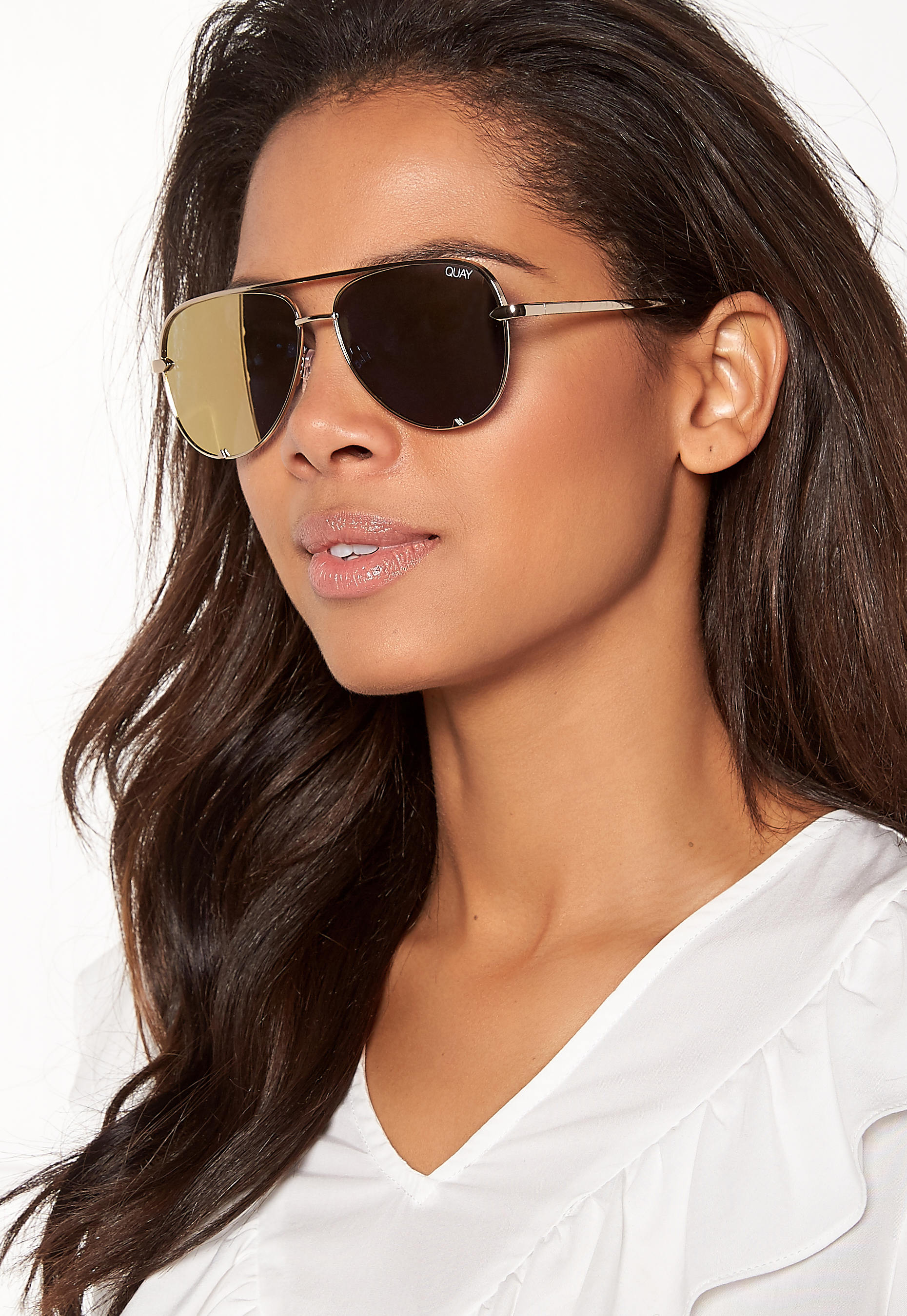 bddfb15712 Quay Australia High Key Mini Sunglasses Gold Gold Mirror - Bubbleroom