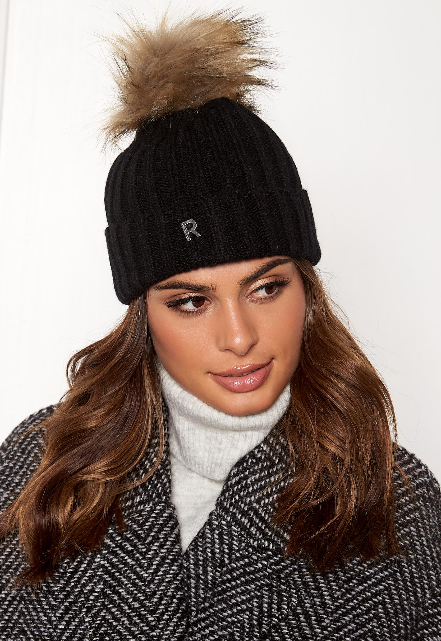 386682f00d1 ROCKANDBLUE Hat Pom Pom Beanie Knit Black Natural - Bubbleroom