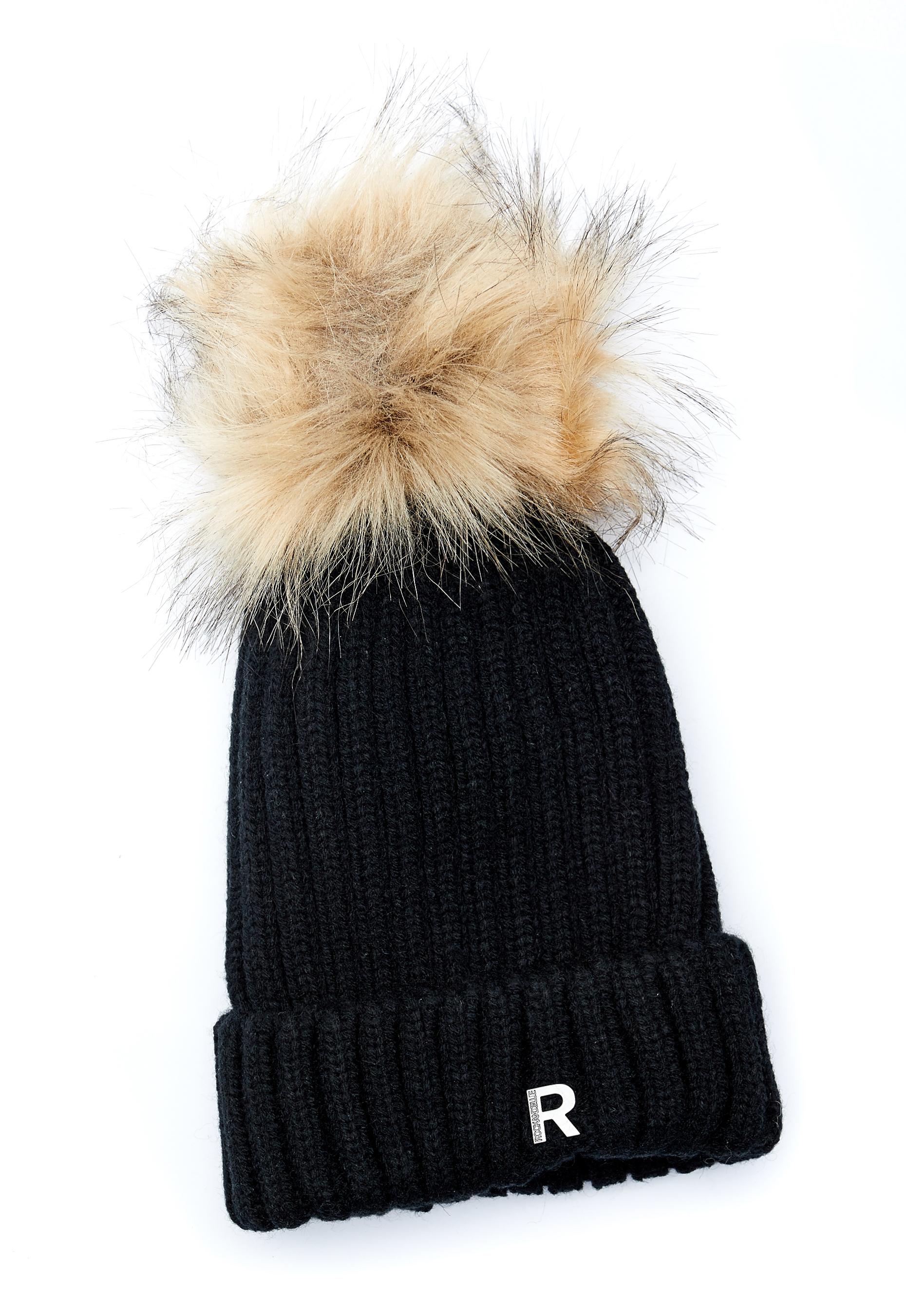 e41469b41f0 ROCKANDBLUE Hat Pom Pom Faux Fur Black Natural - Bubbleroom