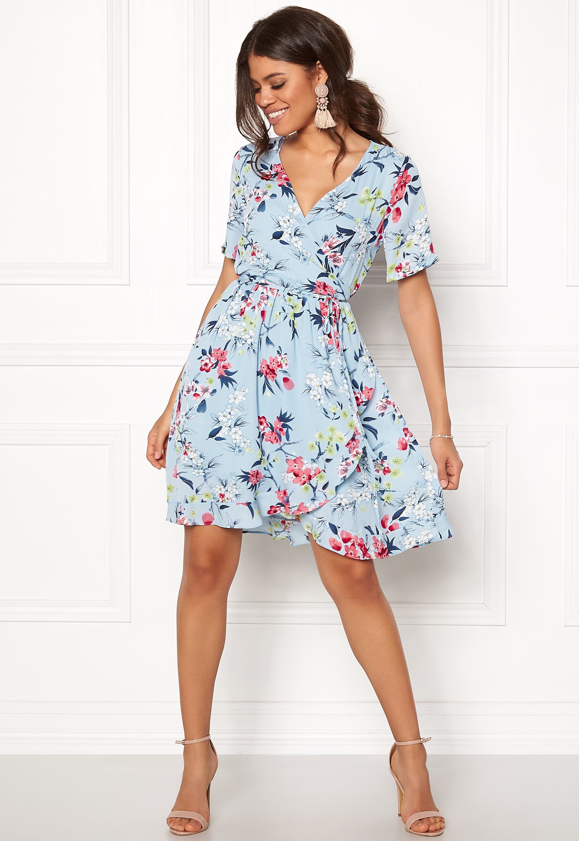 Rut   Circle Eleonor Wrap Dress Lt Blue Combo - Bubbleroom a5262ed8eb