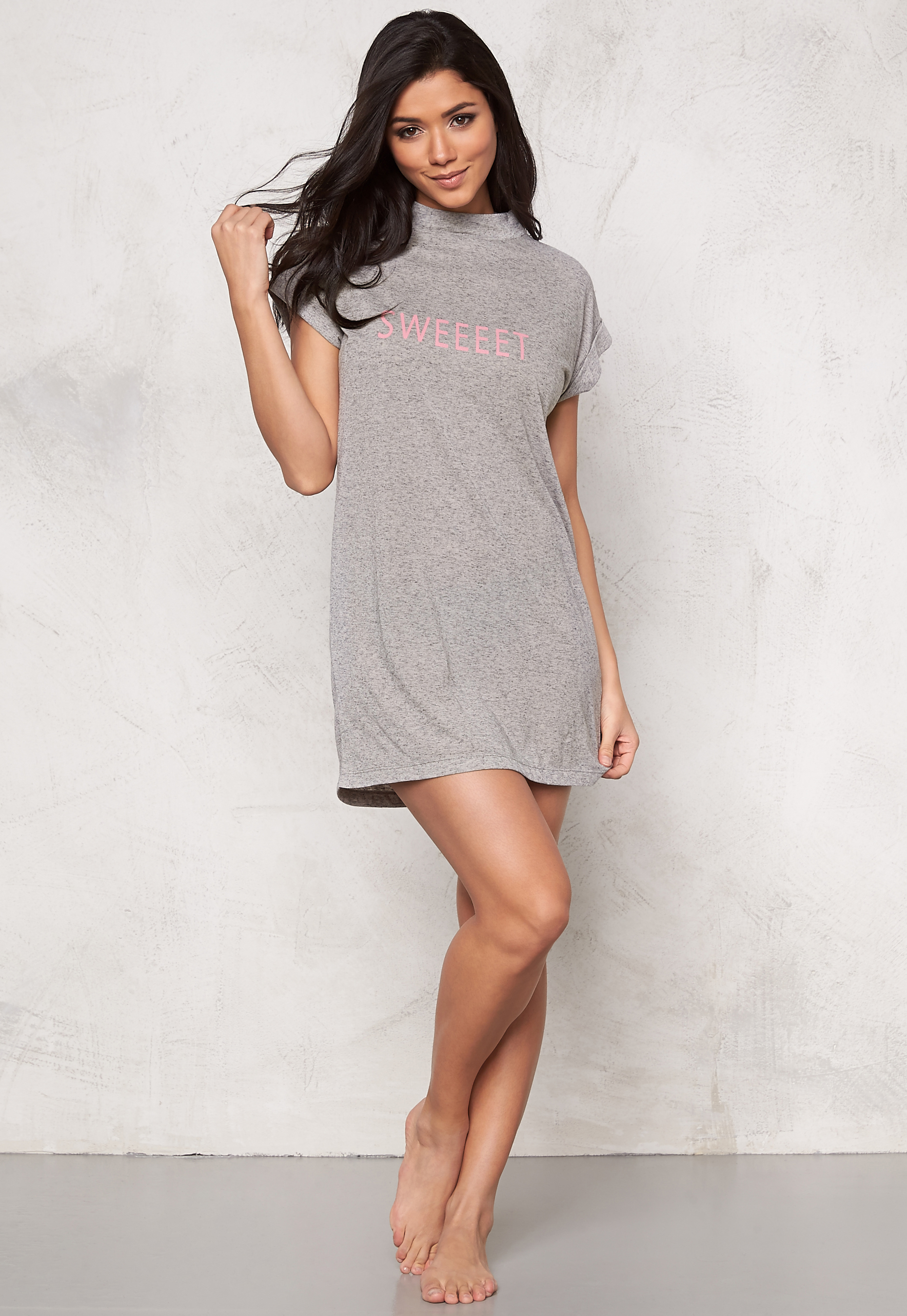 b41f870607fc Sally & Circle Perla T-shirt Dress Lt Grey Melange - Bubbleroom