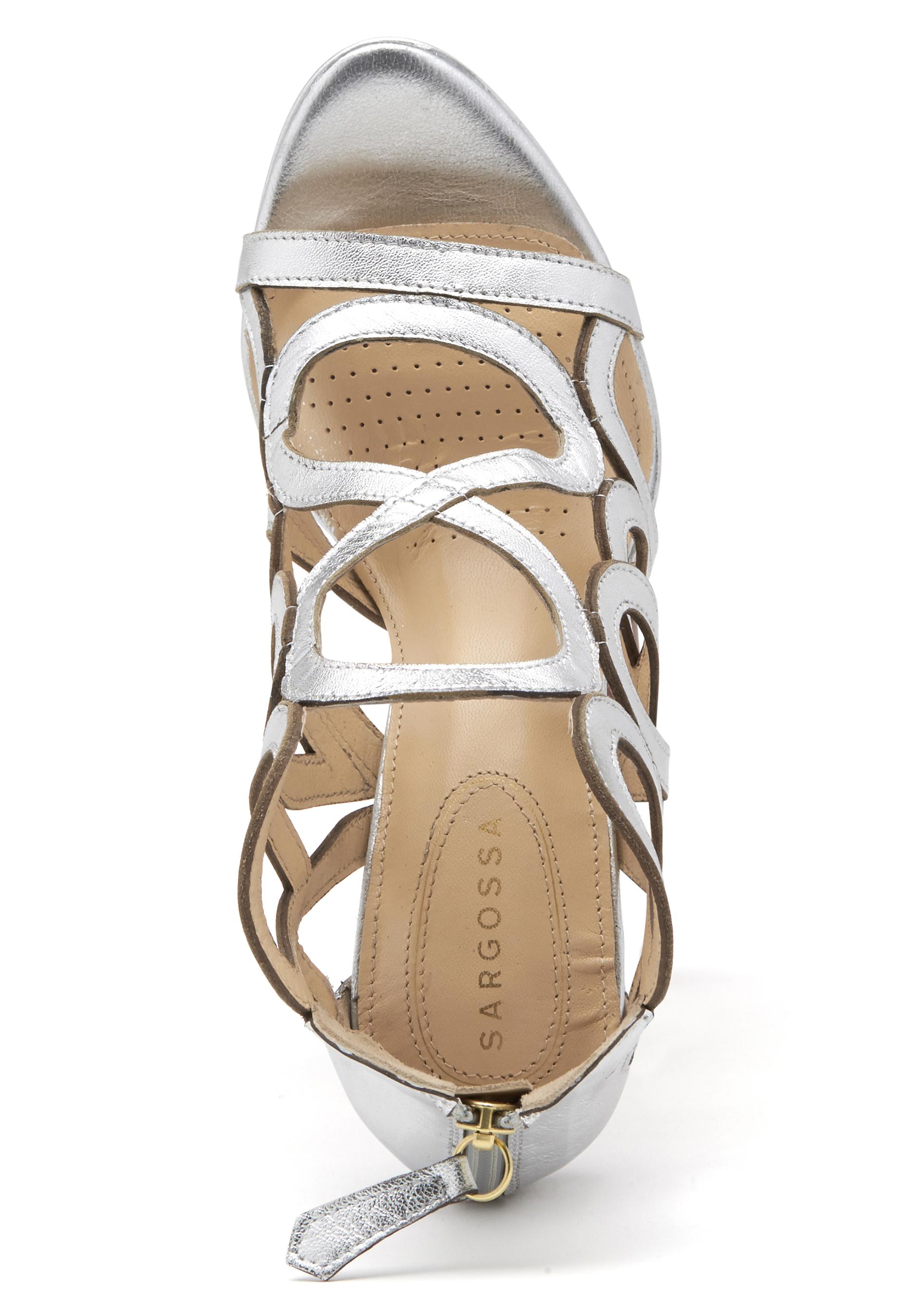 30e64d09c122 SARGOSSA Redefined Leather Heels Silver - Bubbleroom