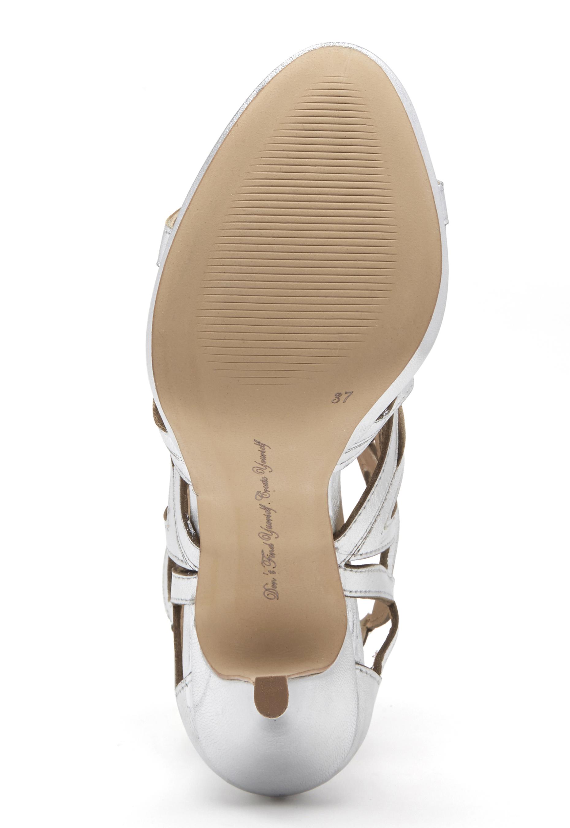 d2e9fcbd2c09 SARGOSSA Redefined Leather Heels Silver - Bubbleroom