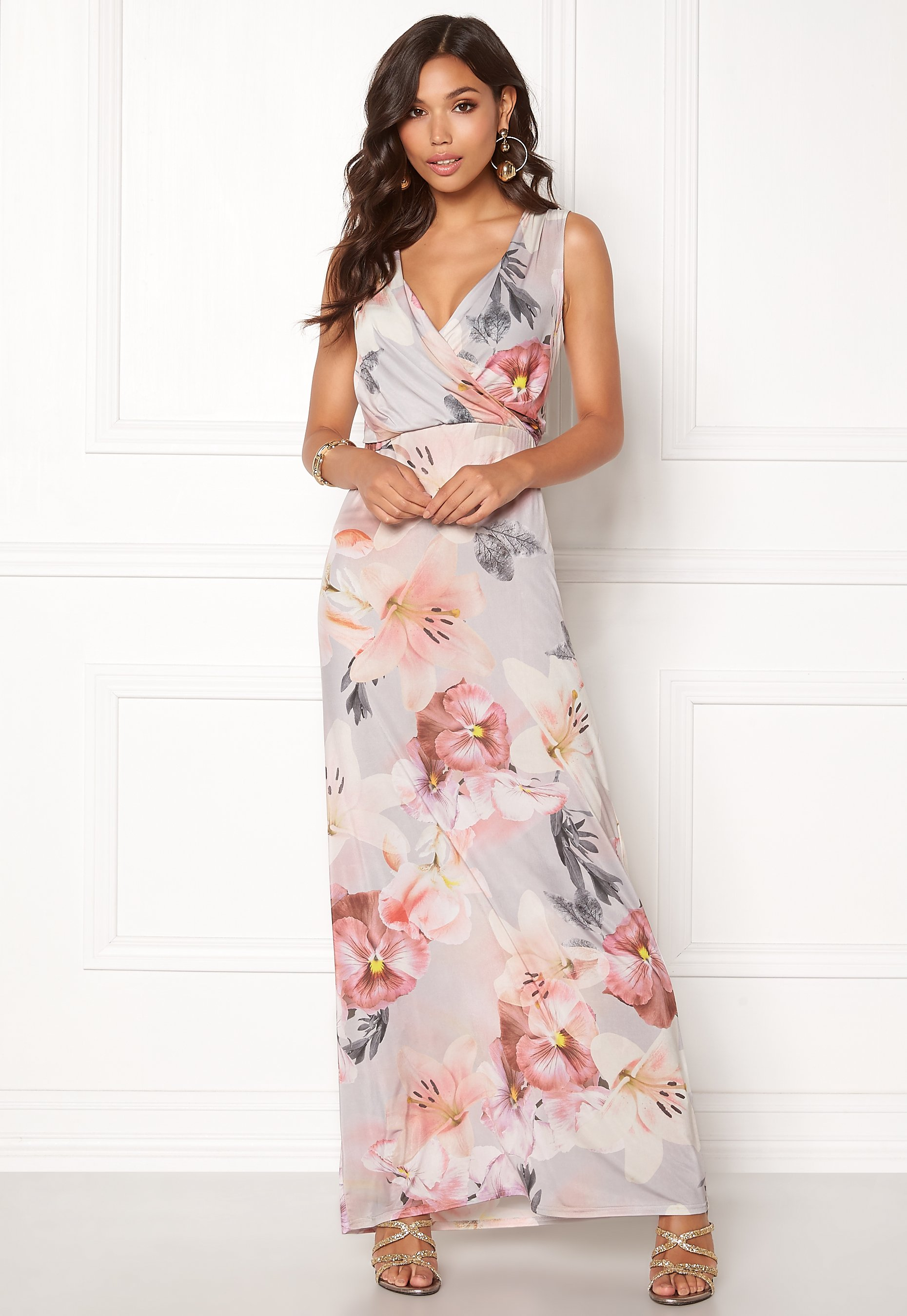 73b1db8225d8 Sisters Point Lotta Dress Grey Rose Flower - Bubbleroom