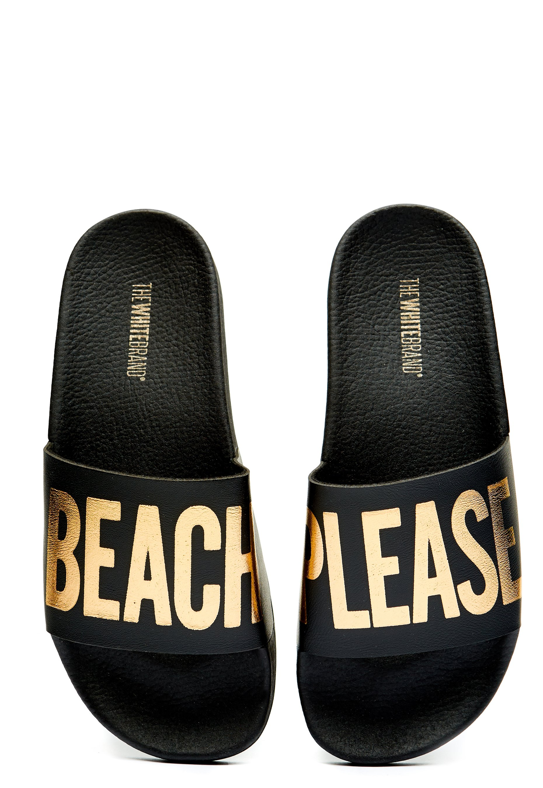 6b5dd99ff67f15 The White Brand Beach Please Slippers Black - Bubbleroom
