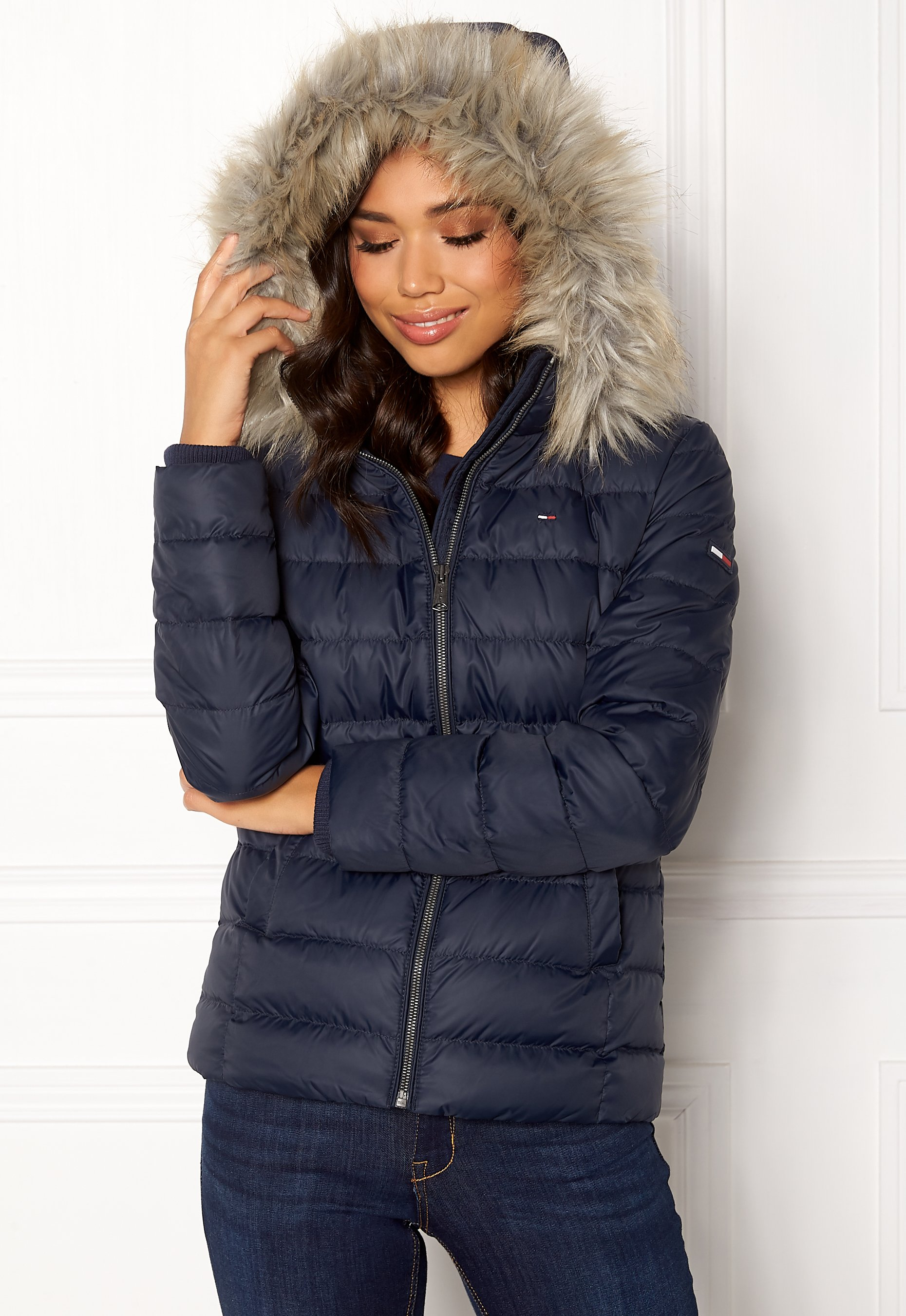the cheapest famous brand quite nice TOMMY JEANS Essential Down Jacket 002 Black Iris - Bubbleroom