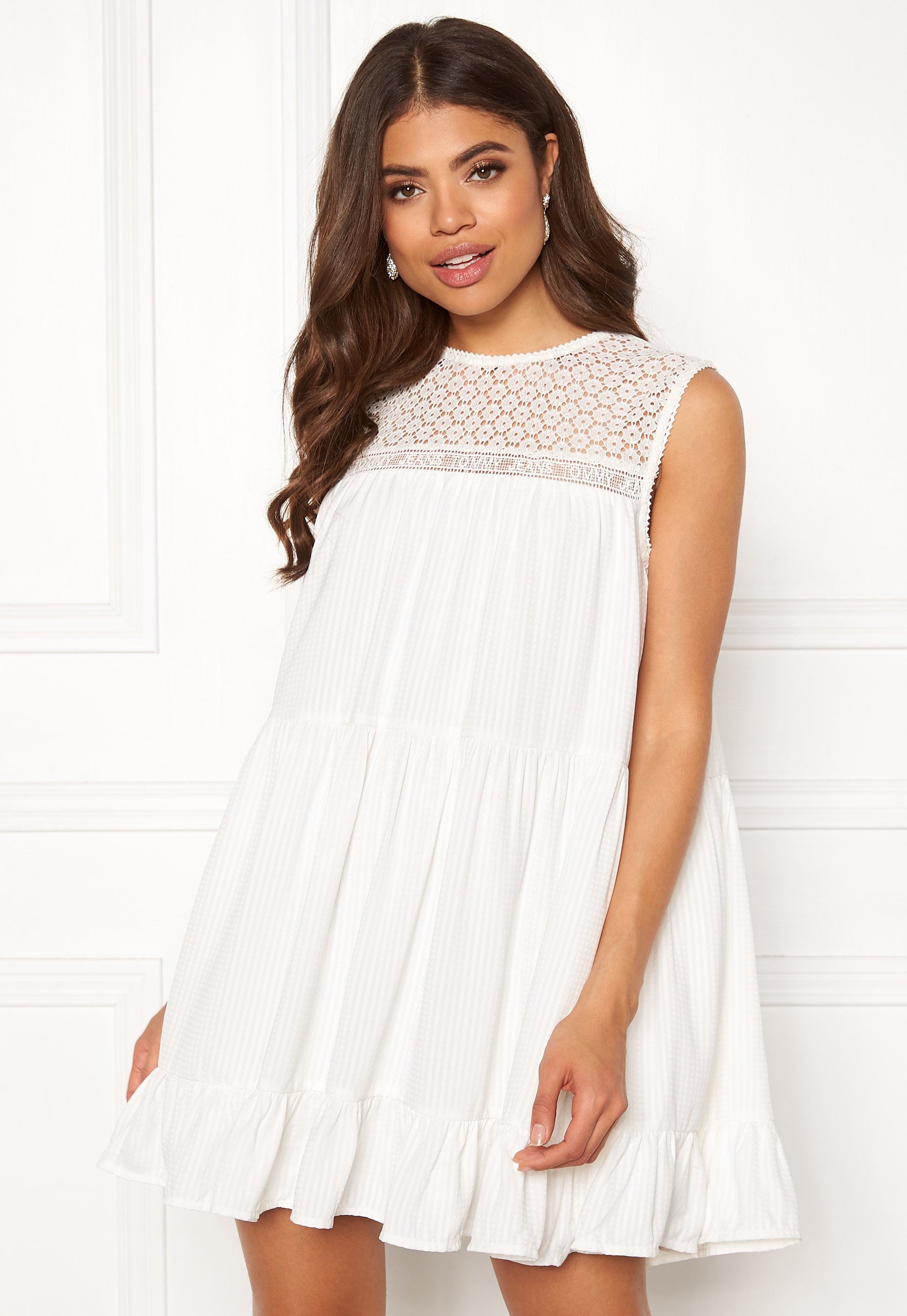 Tommy Jeans Summer Sleeveless Lace Dress 100 Classic White