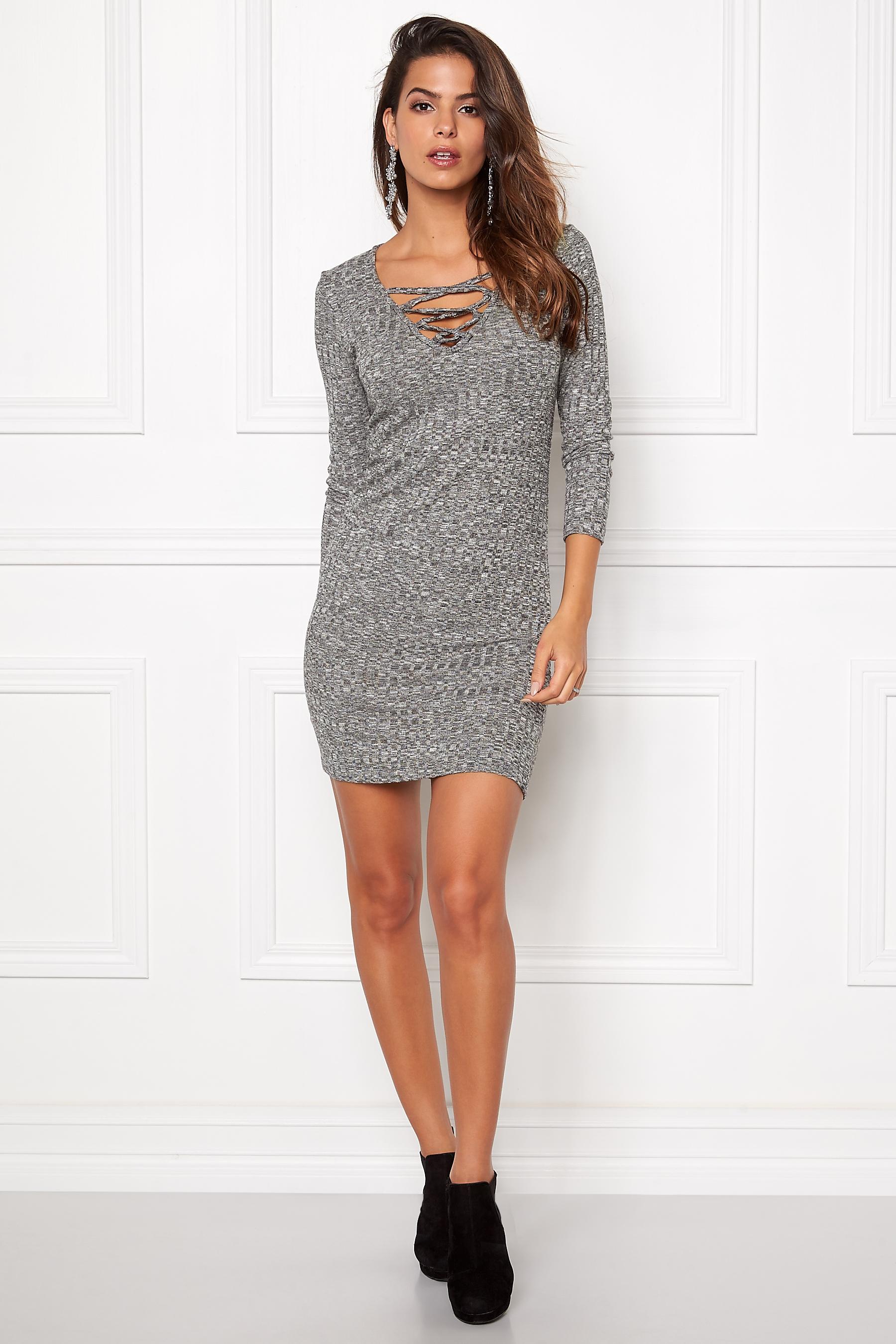 TrulyMine Lea Dress Darkgreymelange - Bubbleroom 5a223efca2dc3