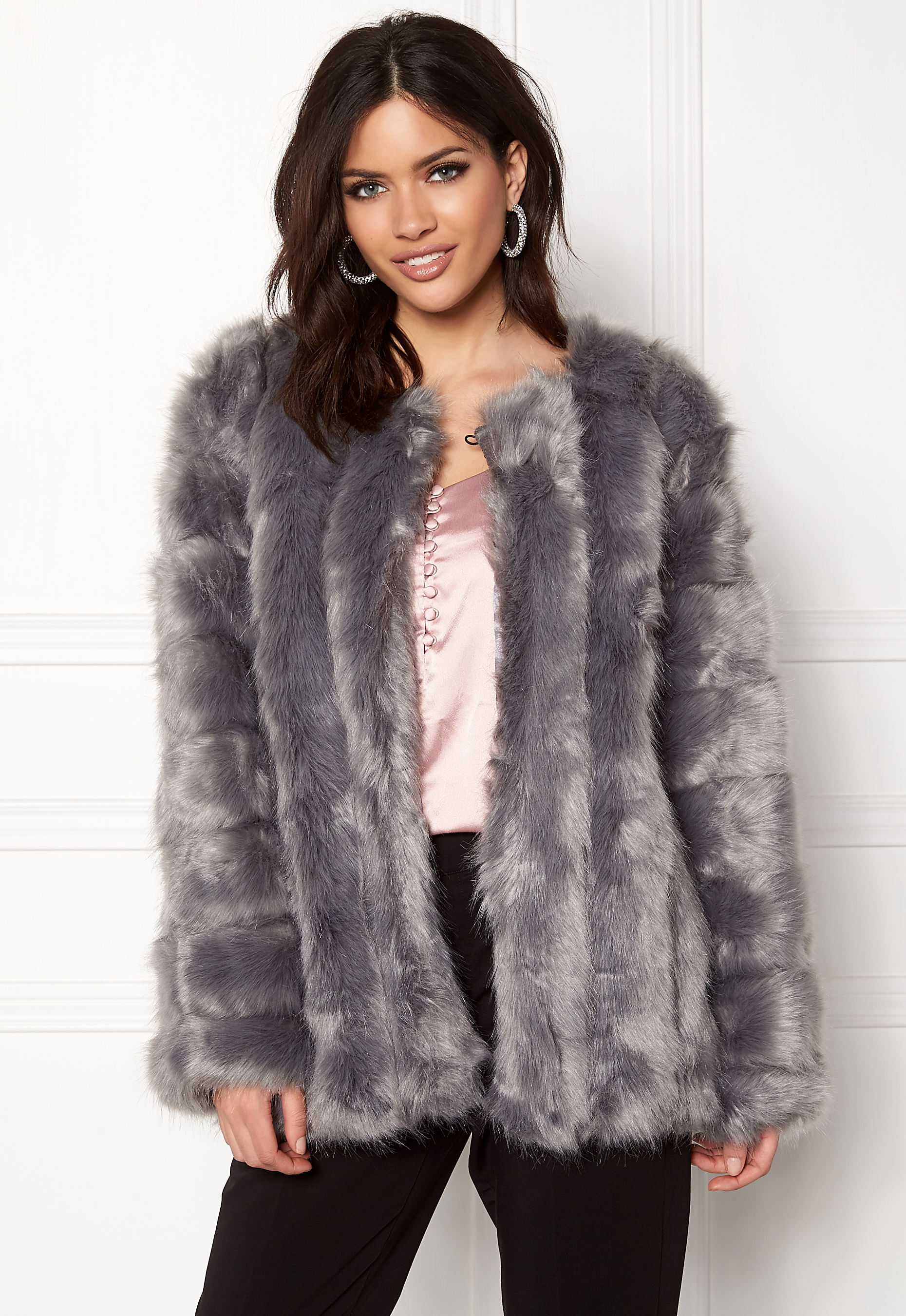 724a76b8c30a Urban Mist Plush Faux Fur Coat Grey Bubbleroom.eu