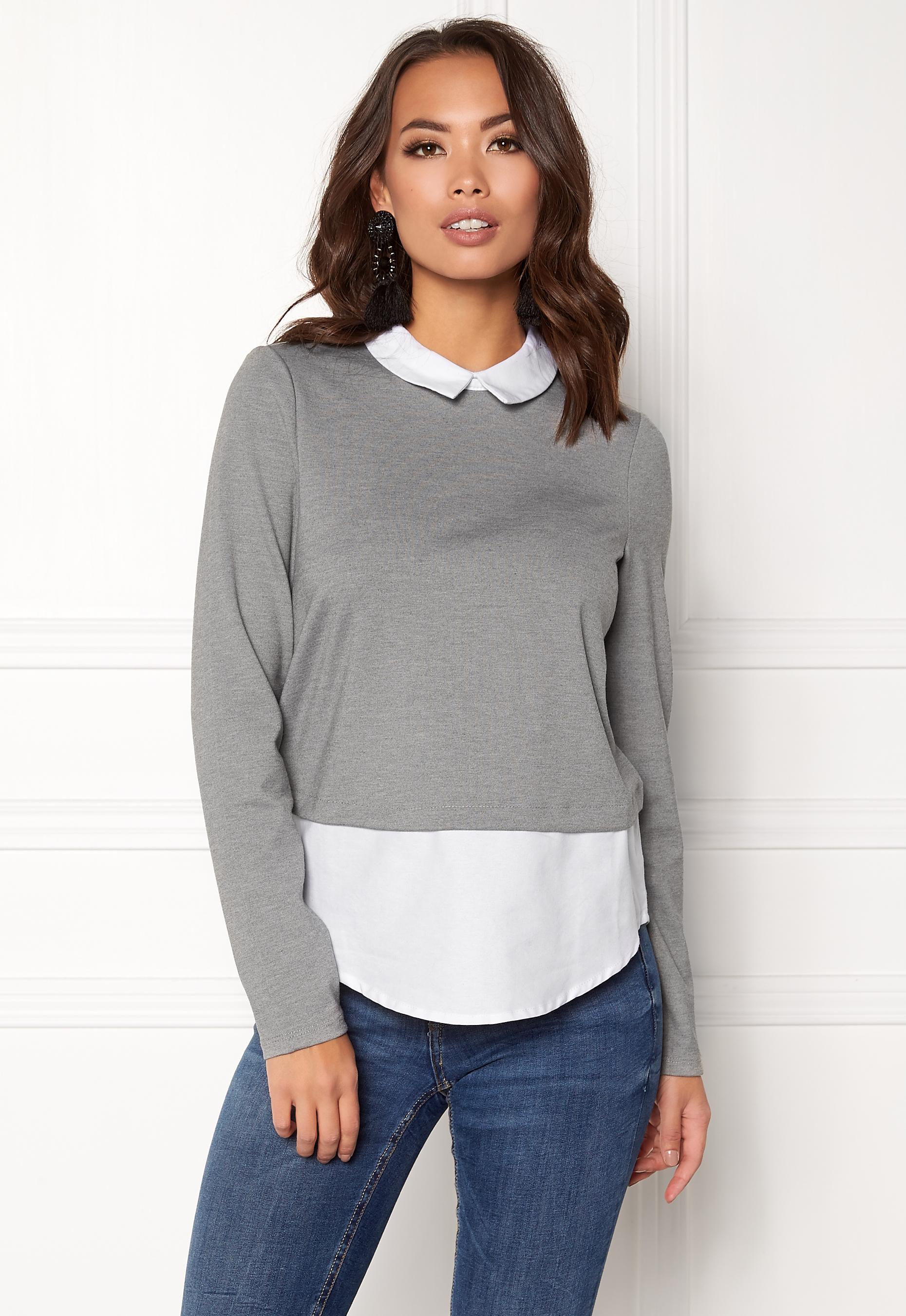 Ls Grey Melange Top Shirt Cindy Moda Vero Medium Bubbleroom UYqwW