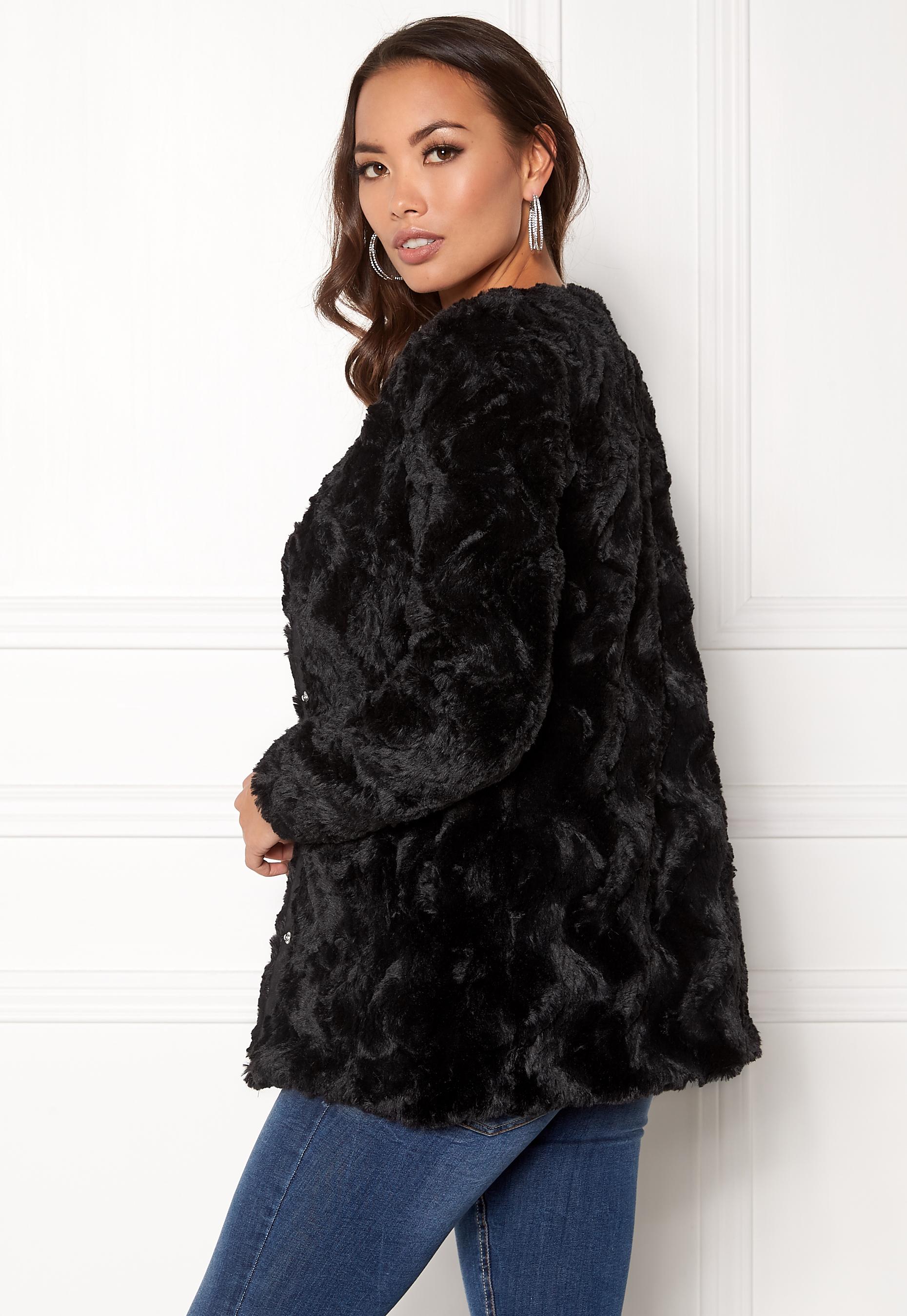 vero moda curl long fake fur jacket