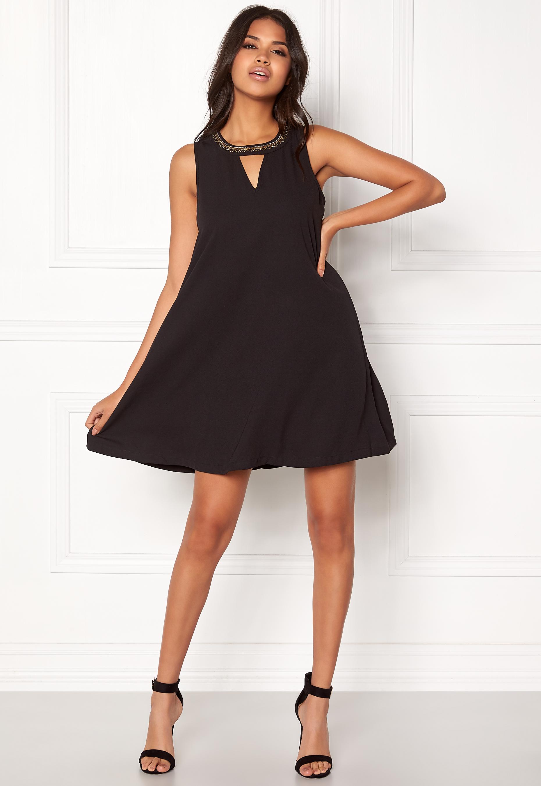 17d60cd456465 VERO MODA June Bead SL Short Dress Black - Bubbleroom