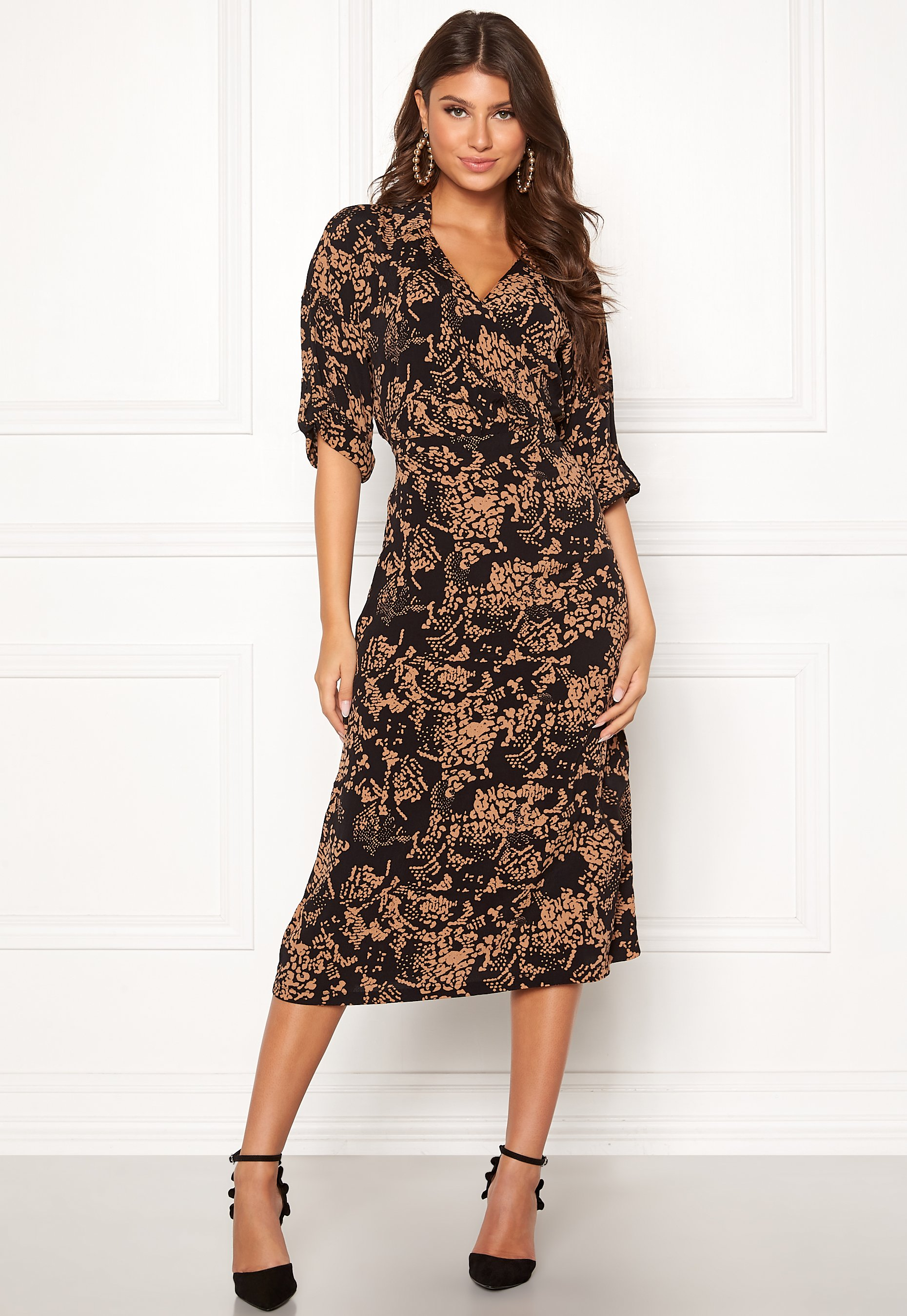 vero moda prosecca 3/4 calf dress prosecca aop - bubbleroom