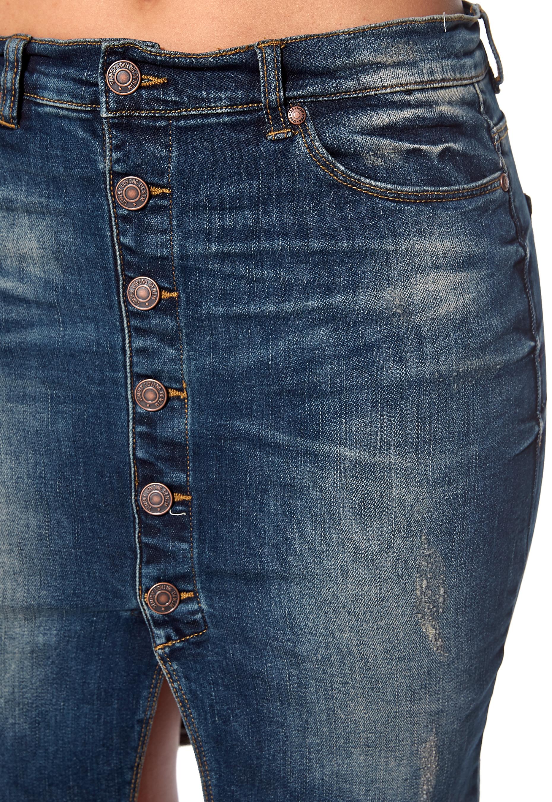 VERO MODA Seven Slim Button Skirt Dark Blue Denim - Bubbleroom 6c662fc80