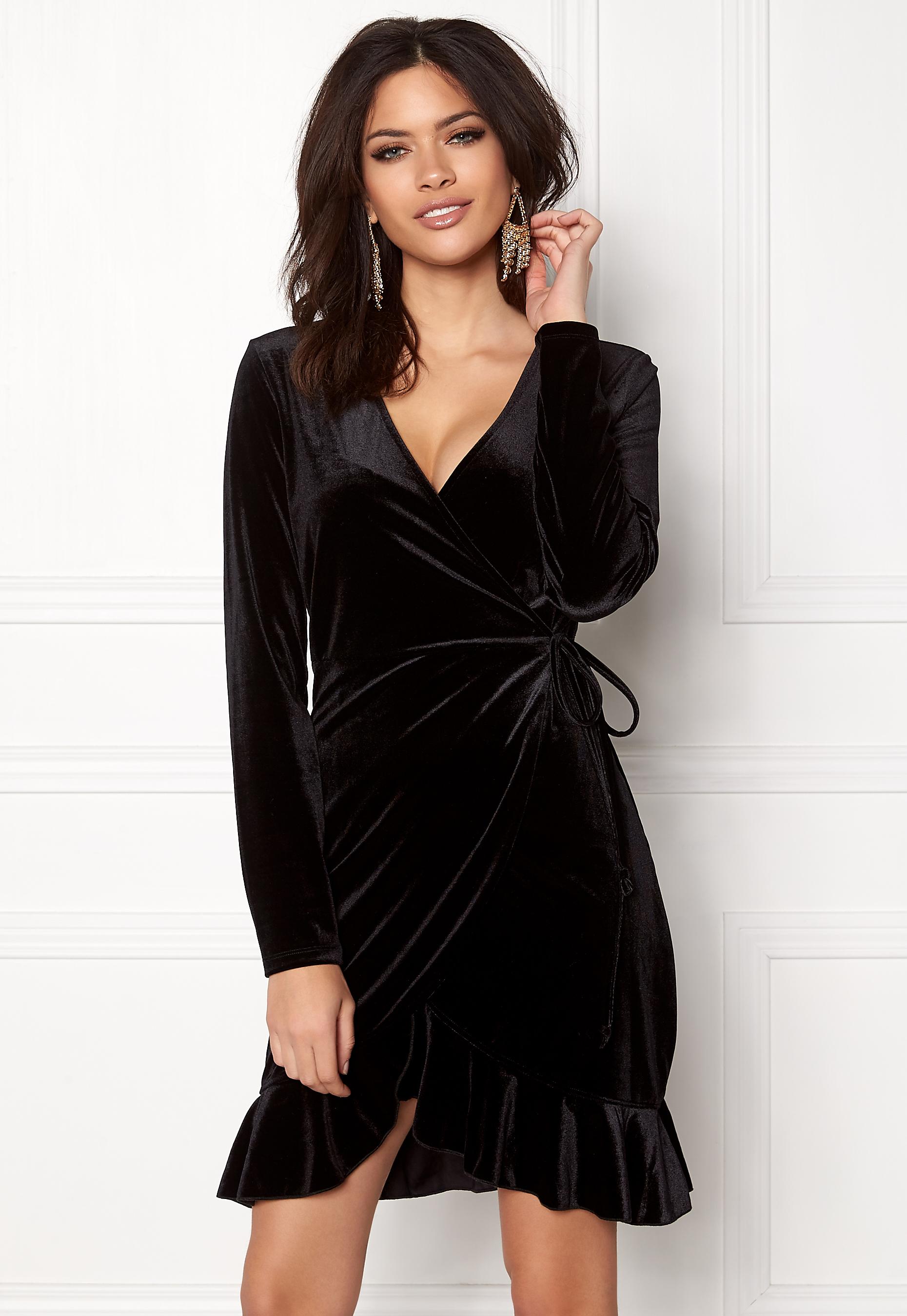fbad0f8589b1d VERO MODA Viola Wrap L/S Dress Black - Bubbleroom