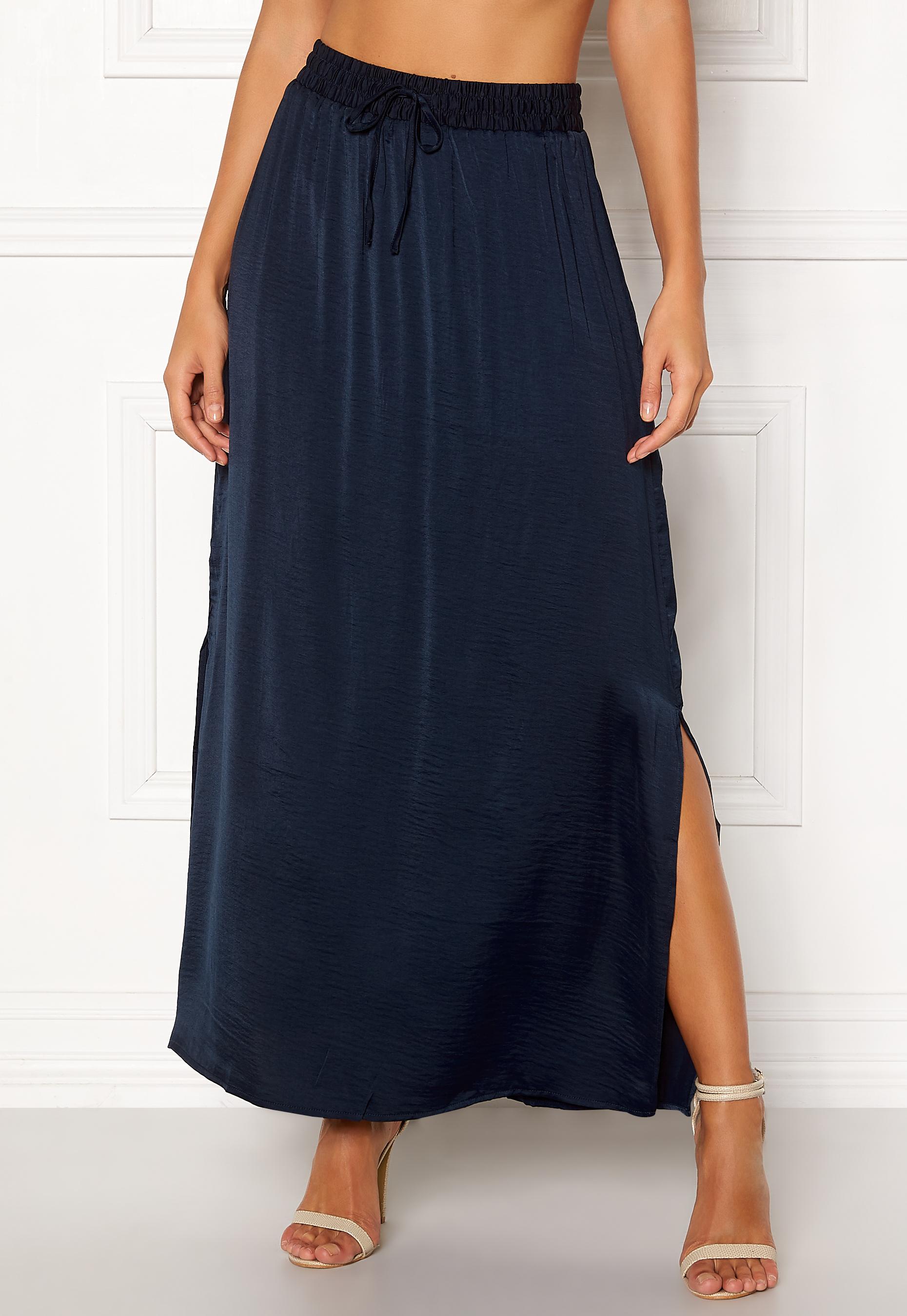 e70079d2b65a VILA Cava Maxi Skirt Total Eclipse - Bubbleroom